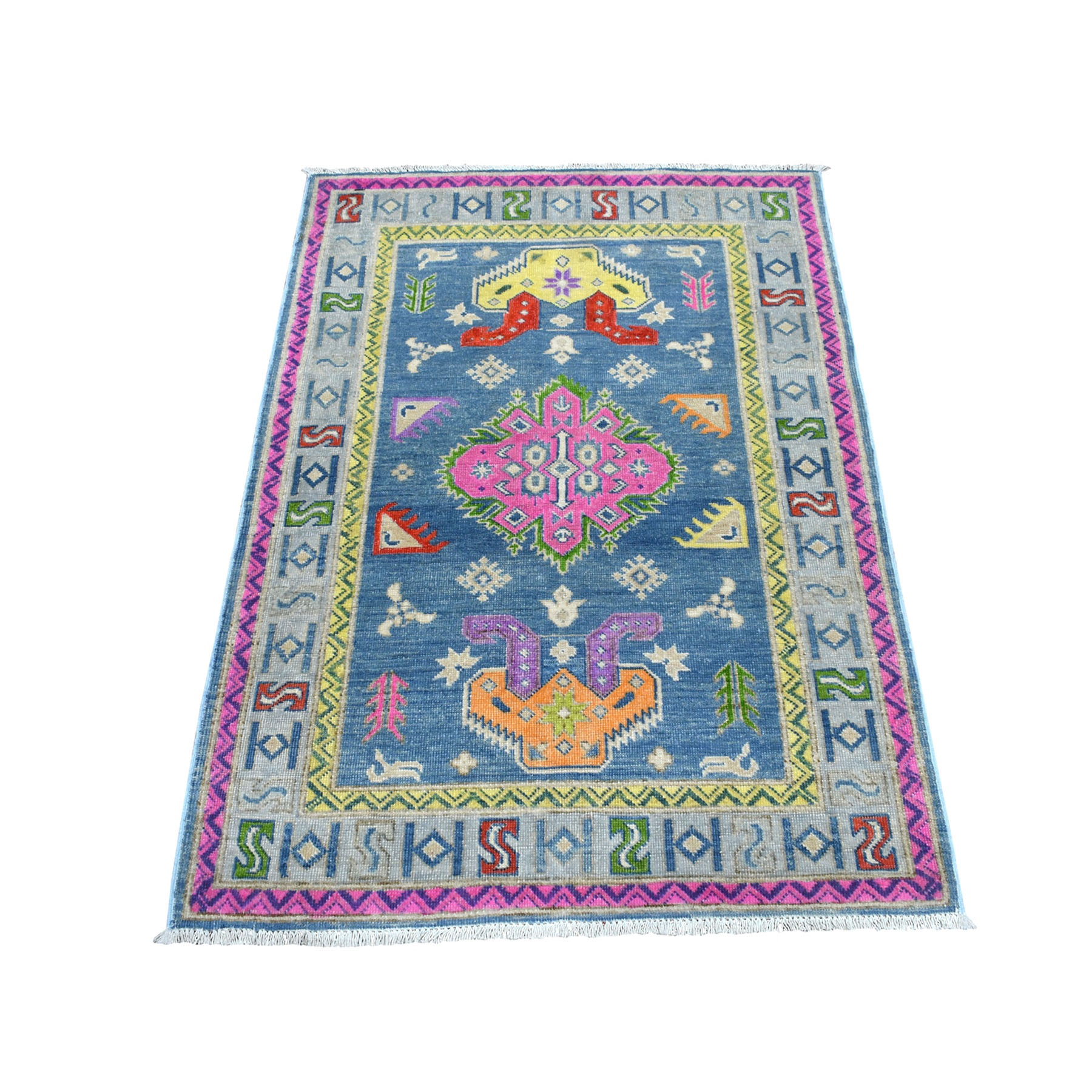 """3'3""""X4'7"""" Colorful Blue Fusion Kazak Pure Wool Hand Knotted Oriental Rug moaeced6"""
