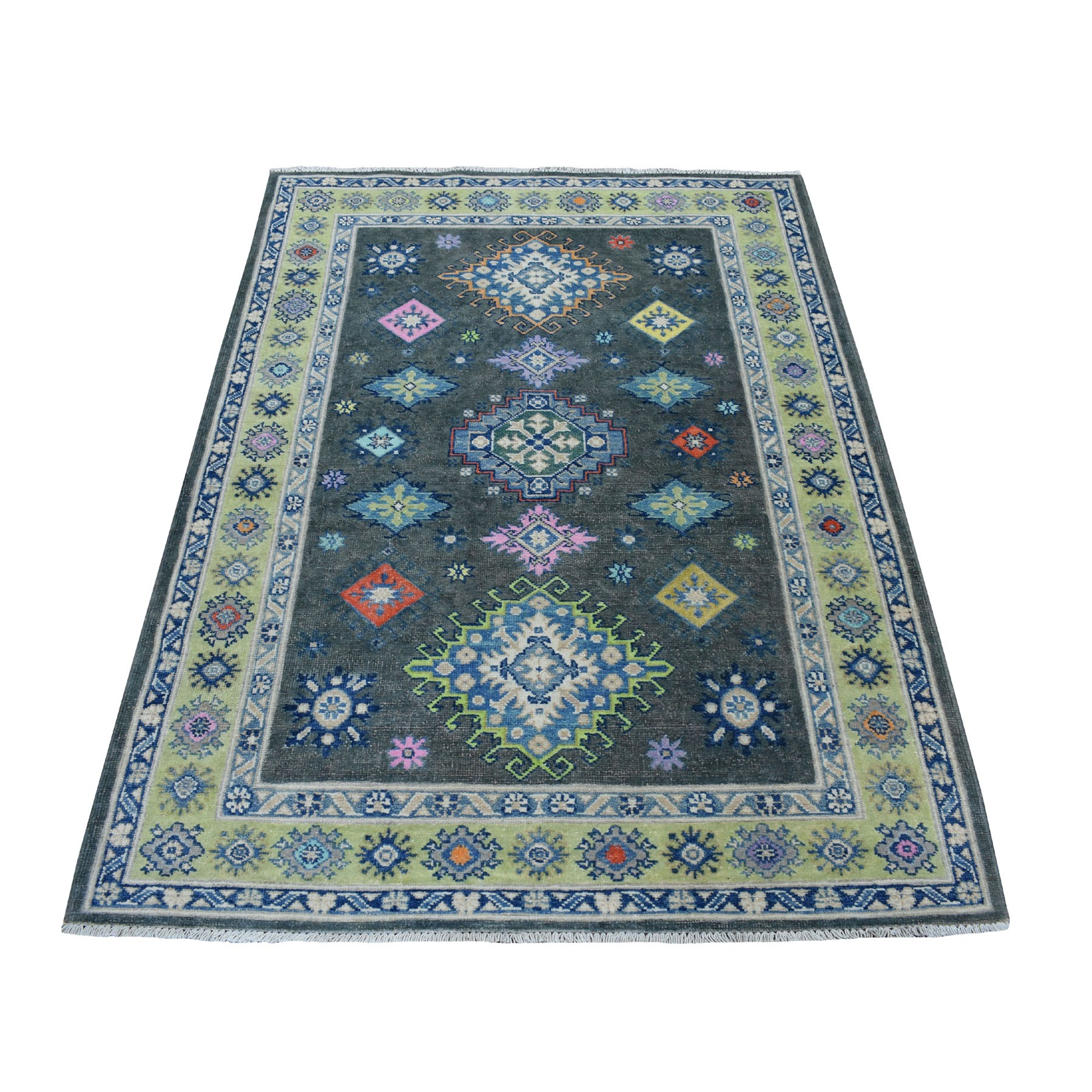 """4'X5'9"""" Colorful Gray Fusion Kazak Pure Wool Geometric Design Hand Knotted Oriental Rug moaeced7"""