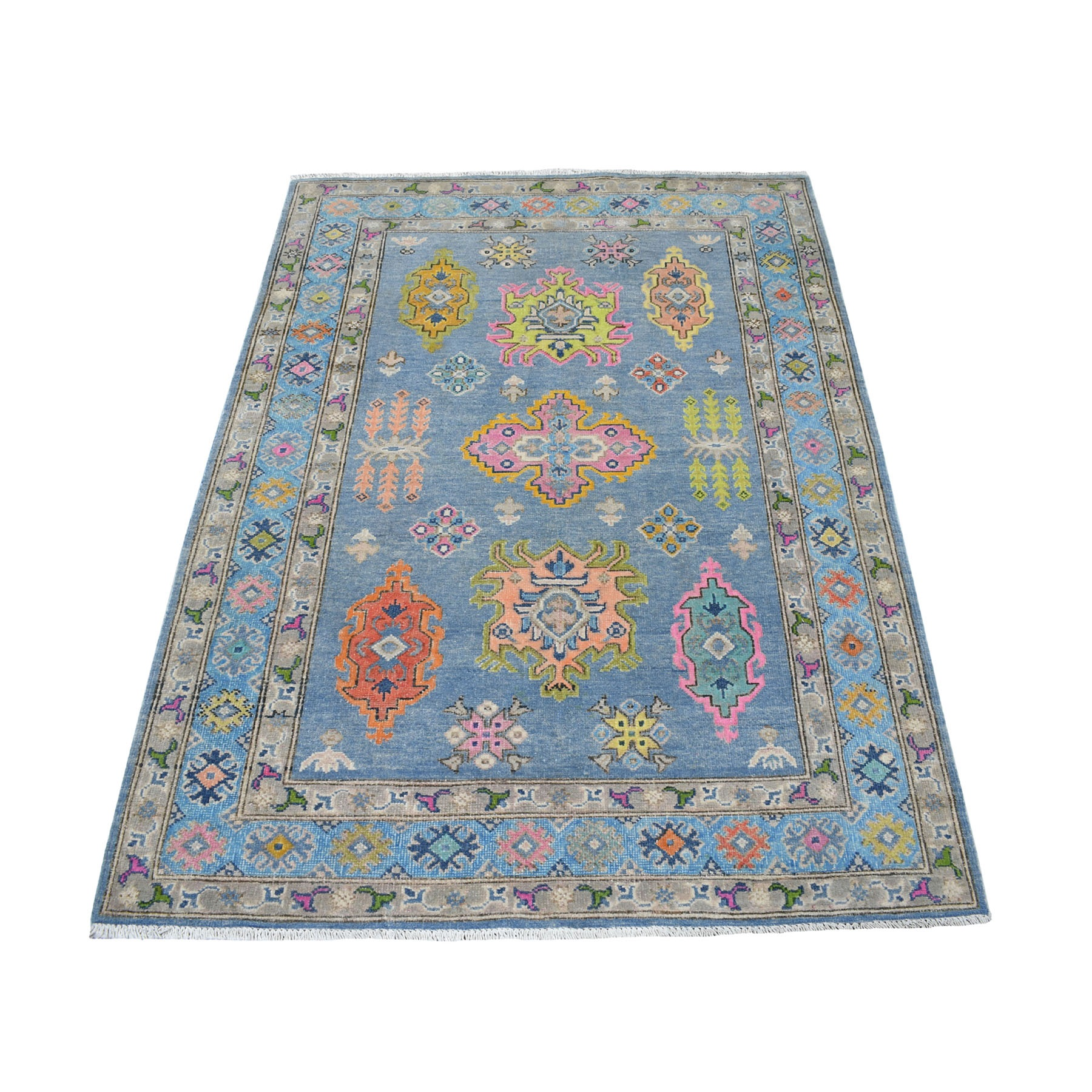 4'x6' Colorful Blue Fusion Kazak Pure Wool Hand Knotted Oriental Rug 53548