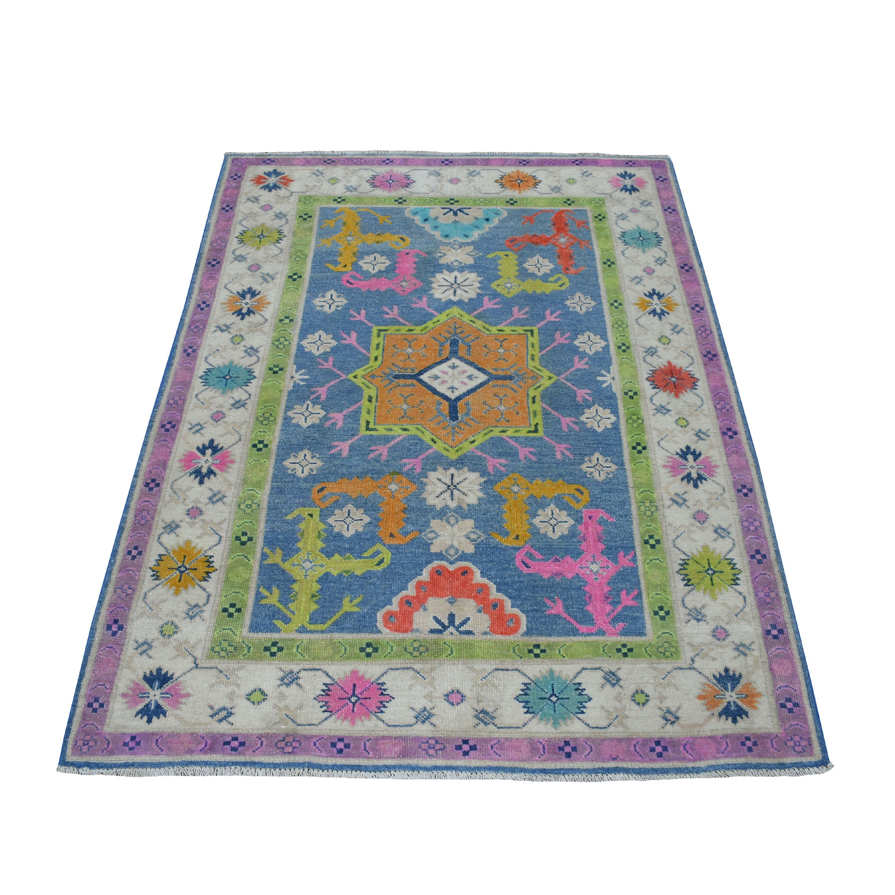 """4'X5'9"""" Colorful Blue Fusion Kazak Pure Wool Hand Knotted Oriental Rug moaeced9"""