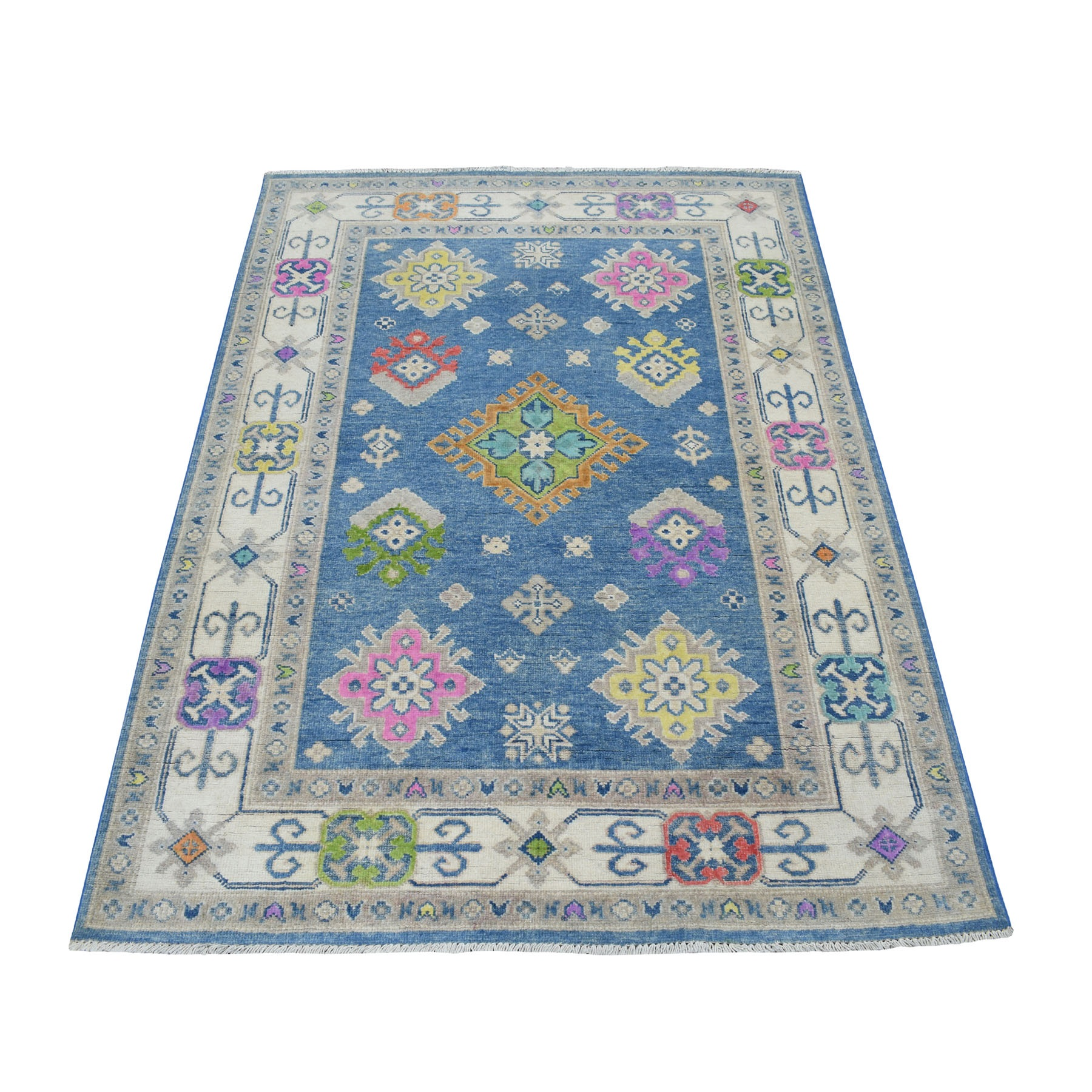 """4'X5'7"""" Colorful Blue Fusion Kazak Pure Wool Hand Knotted Oriental Rug moaecee0"""
