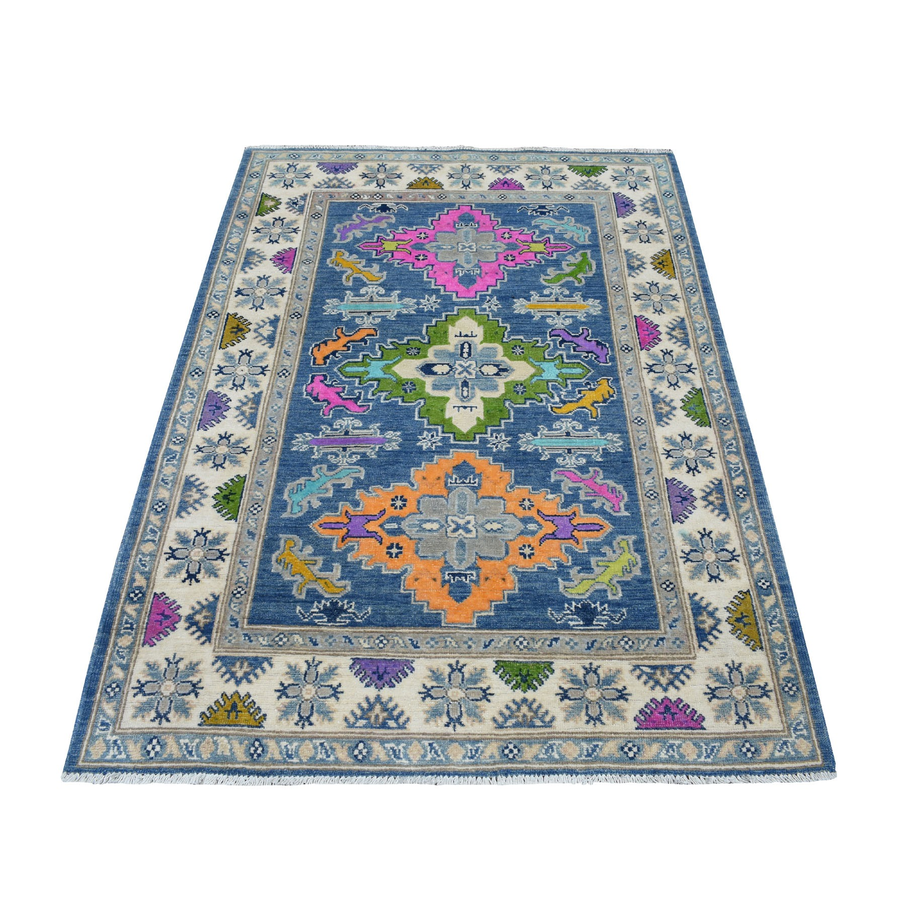 """4'X5'9"""" Colorful Blue Fusion Kazak Pure Wool Hand Knotted Oriental Rug moaeceea"""