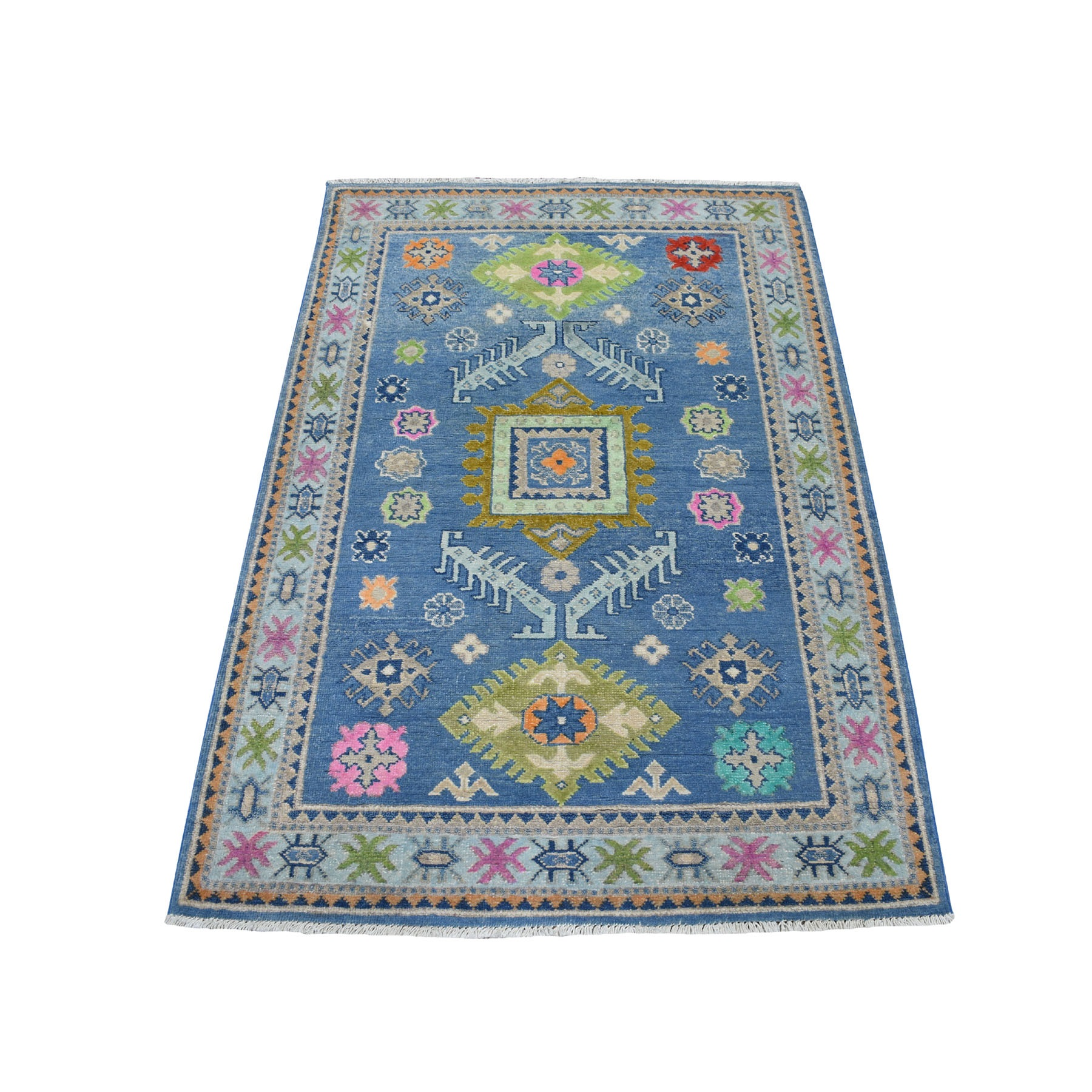 """3'3""""X4'10"""" Colorful Blue Fusion Kazak Pure Wool Hand Knotted Oriental Rug moaeceeb"""
