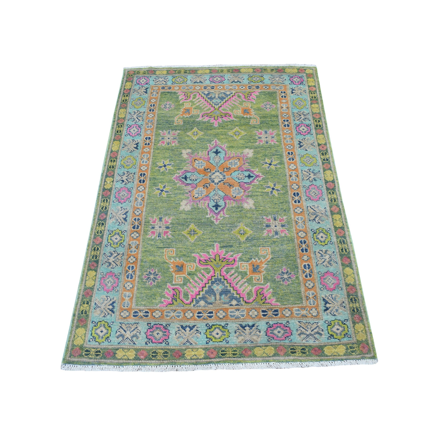 "3'X4'10"" Colorful Green Fusion Kazak Pure Wool Hand Knotted Oriental Rug moaeceec"