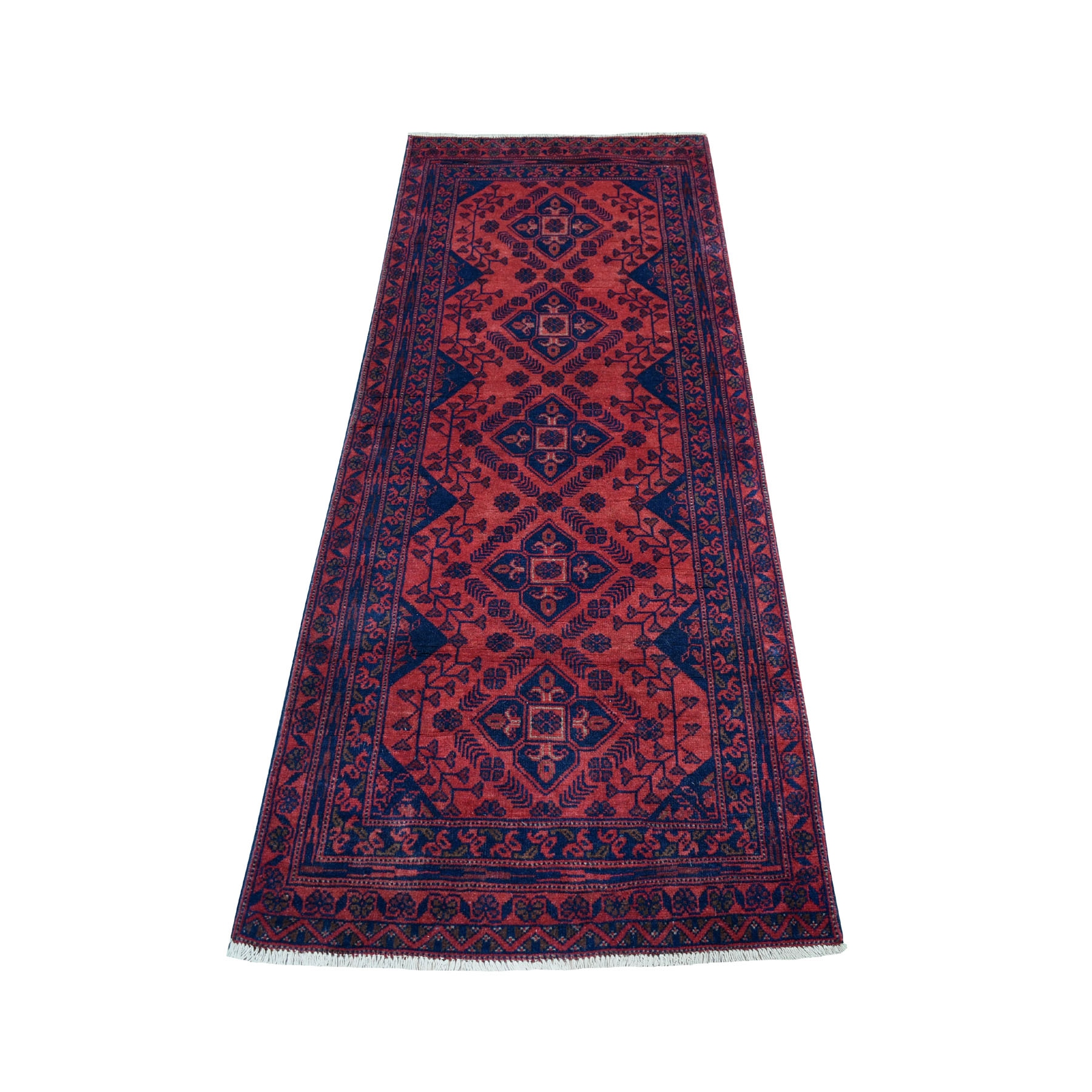 """2'6""""X6'7"""" Deep And Saturated Red Geometric Afghan Andkhoy Runner Pure Wool Hand Knotted Oriental Rug moaeceee"""