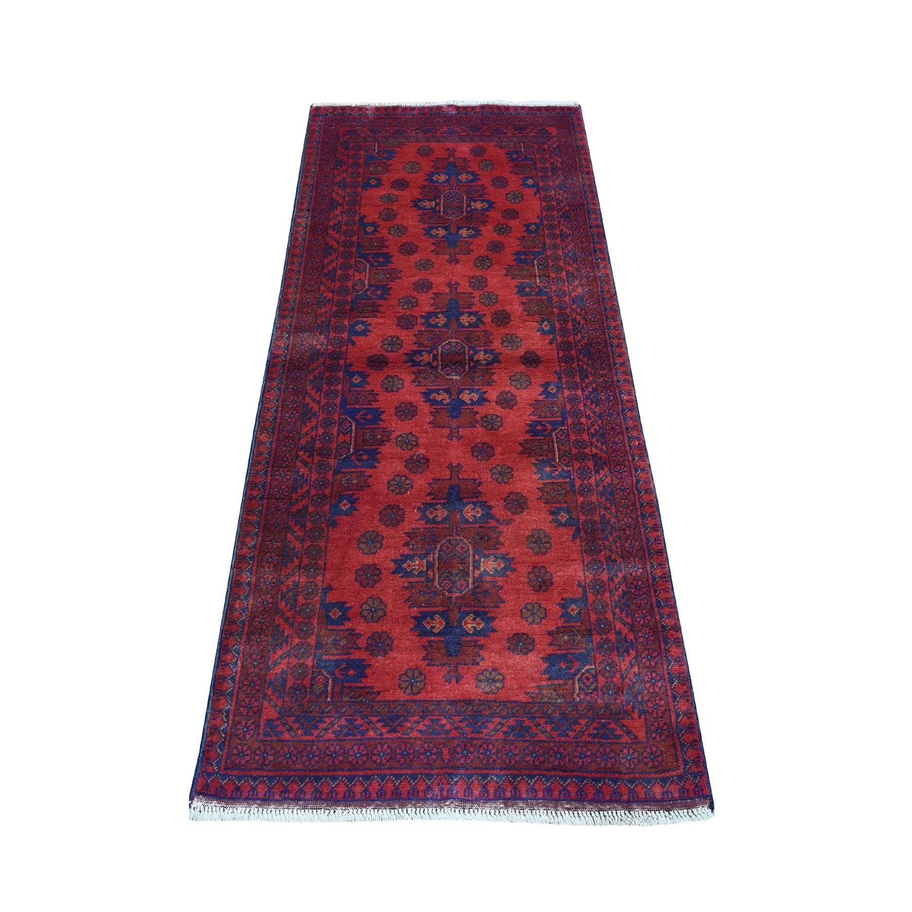 "2'6""X6'1"" Deep And Saturated Red Geometric Afghan Andkhoy Runner Pure Wool Hand Knotted Oriental Rug moaecee7"