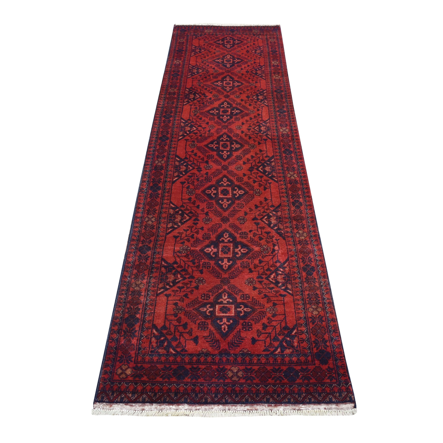 "2'6""X9'6"" Deep And Saturated Red Geometric Afghan Andkhoy Runner Pure Wool Hand Knotted Oriental Rug moaecee8"