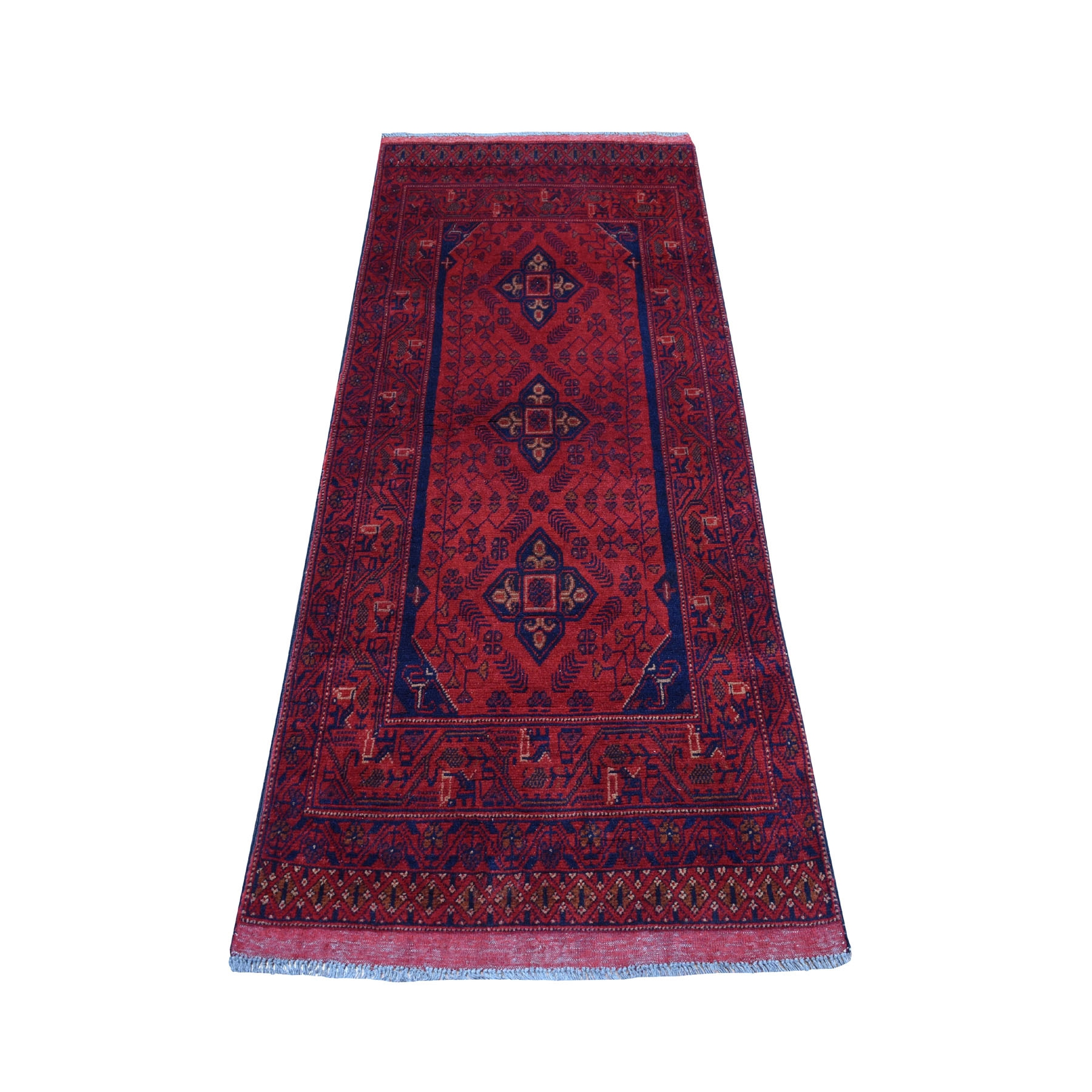 "2'6""X6'2"" Deep And Saturated Red Geometric Afghan Andkhoy Runner Pure Wool Hand Knotted Oriental Rug moaecee9"