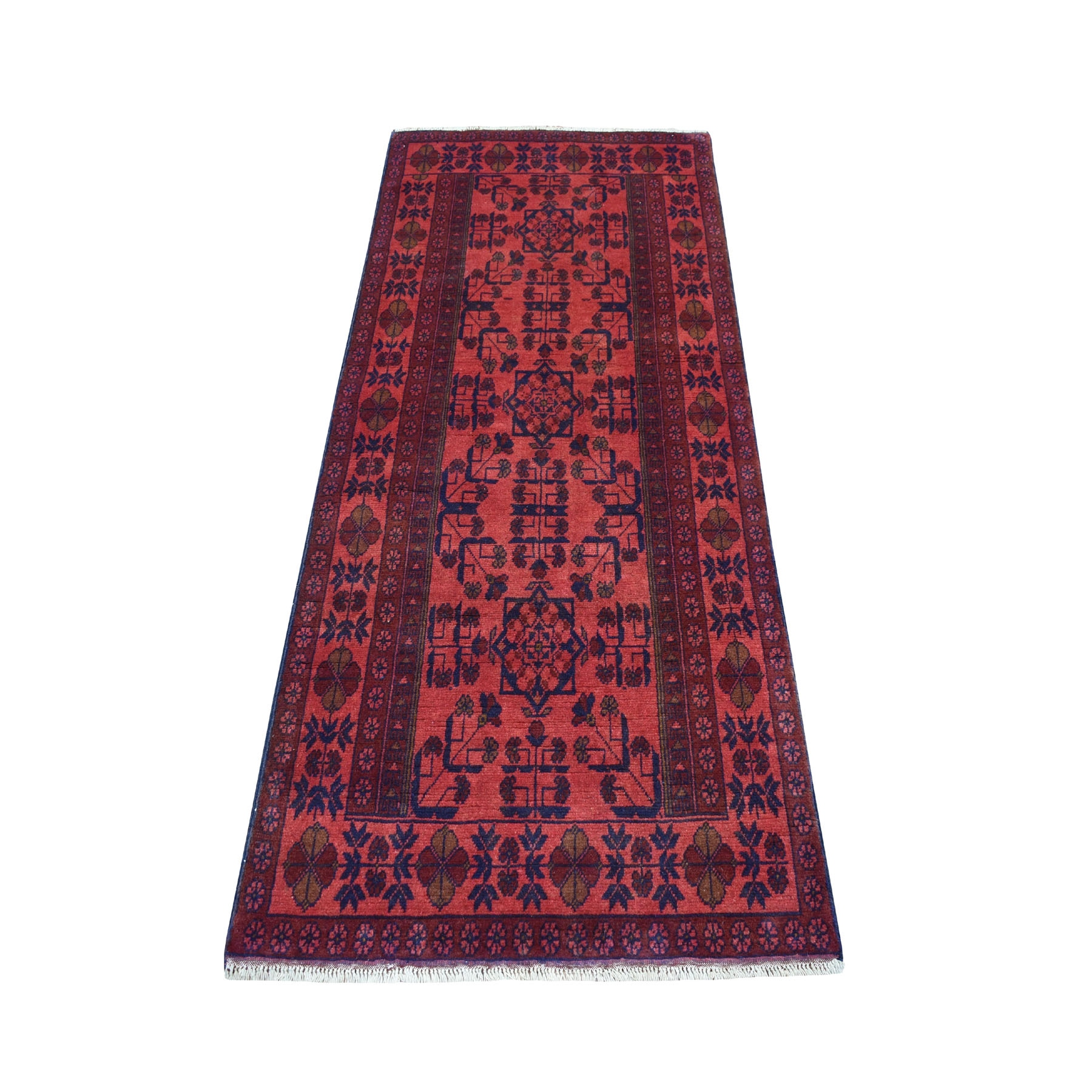 "2'8""X6'4"" Deep And Saturated Red Geometric Afghan Andkhoy Runner Pure Wool Hand Knotted Oriental Rug moaece60"