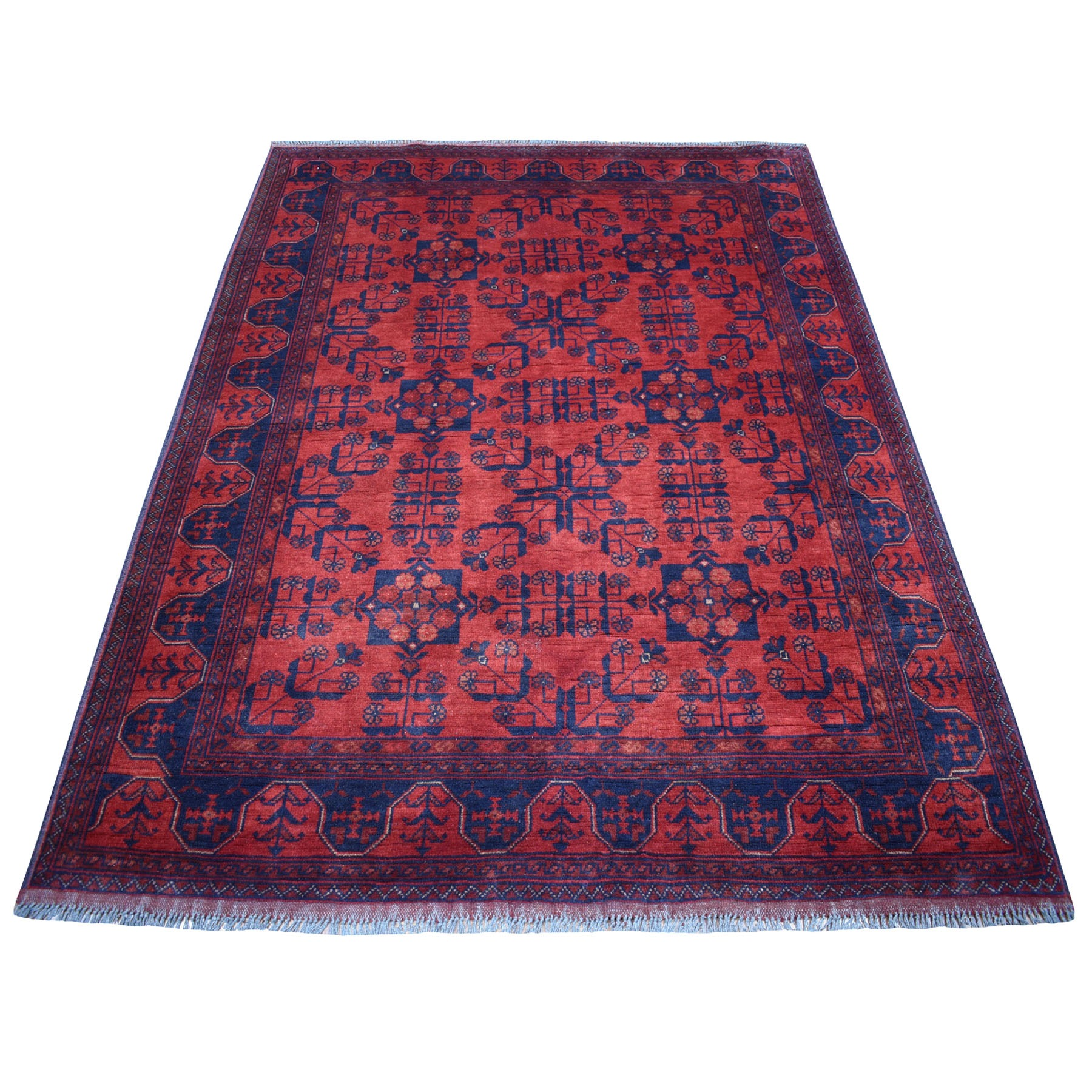 """4'10""""x6'4"""" Deep and Saturated Red Geometric Afghan Andkhoy Pure Wool Hand Knotted Oriental Rug 53561"""