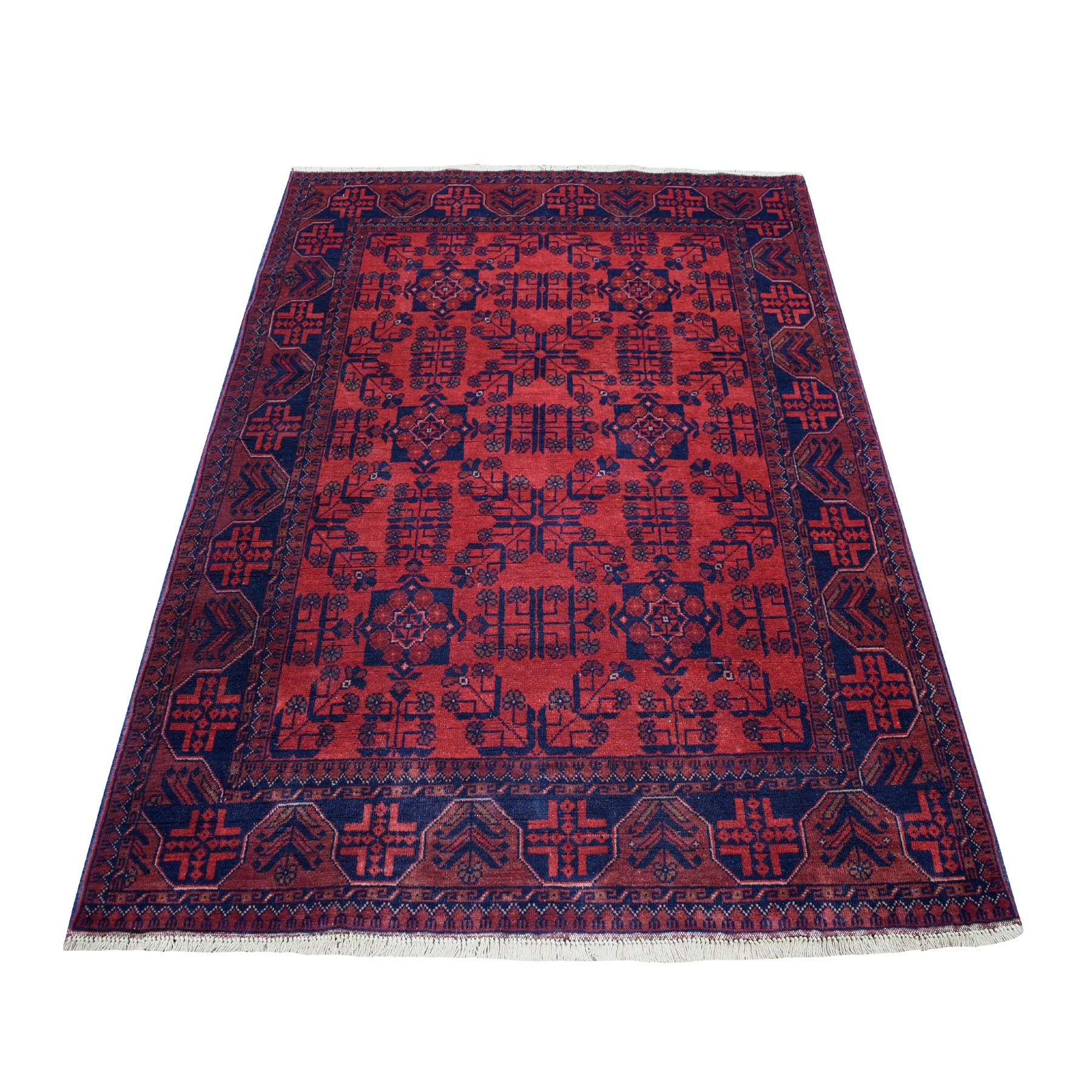 "4'2""X6'4"" Deep And Saturated Red Geometric Afghan Andkhoy Pure Wool Hand Knotted Oriental Rug moaece6b"