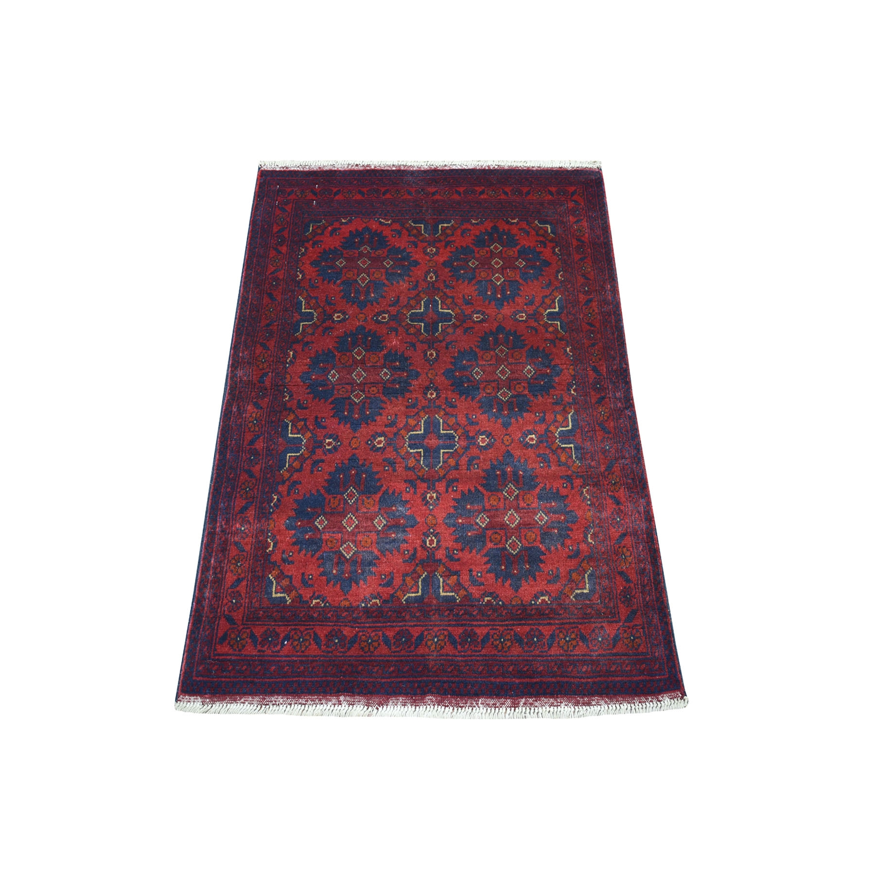 """2'7""""x3'8"""" Deep and Saturated Red Geometric Afghan Andkhoy Pure Wool Hand Knotted Oriental Rug 53565"""