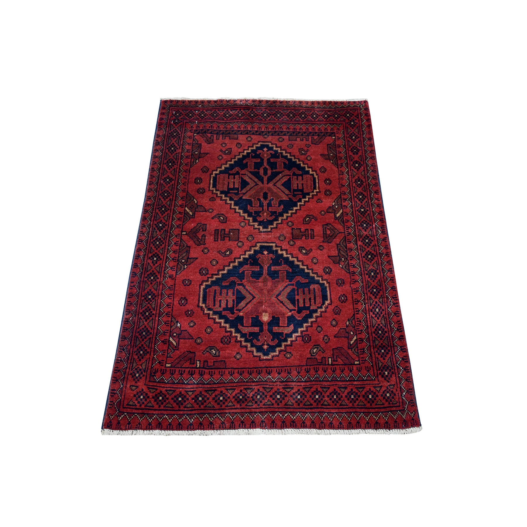 "2'8""X4' Deep And Saturated Red Geometric Afghan Andkhoy Pure Wool Hand Knotted Oriental Rug moaece66"