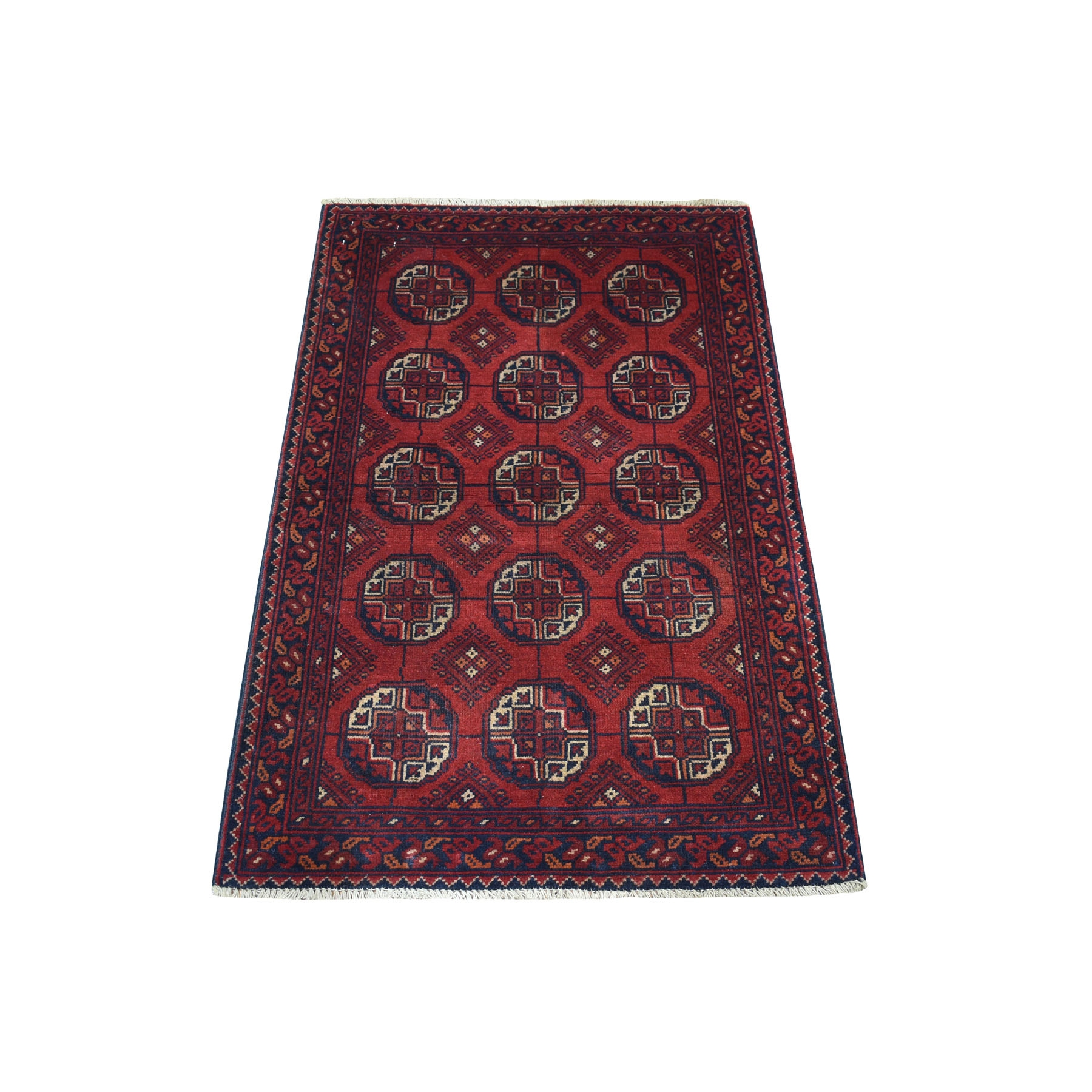 "2'6""X4' Deep And Saturated Red Elephant Feet Afghan Andkhoy Pure Wool Hand Knotted Oriental Rug moaece68"