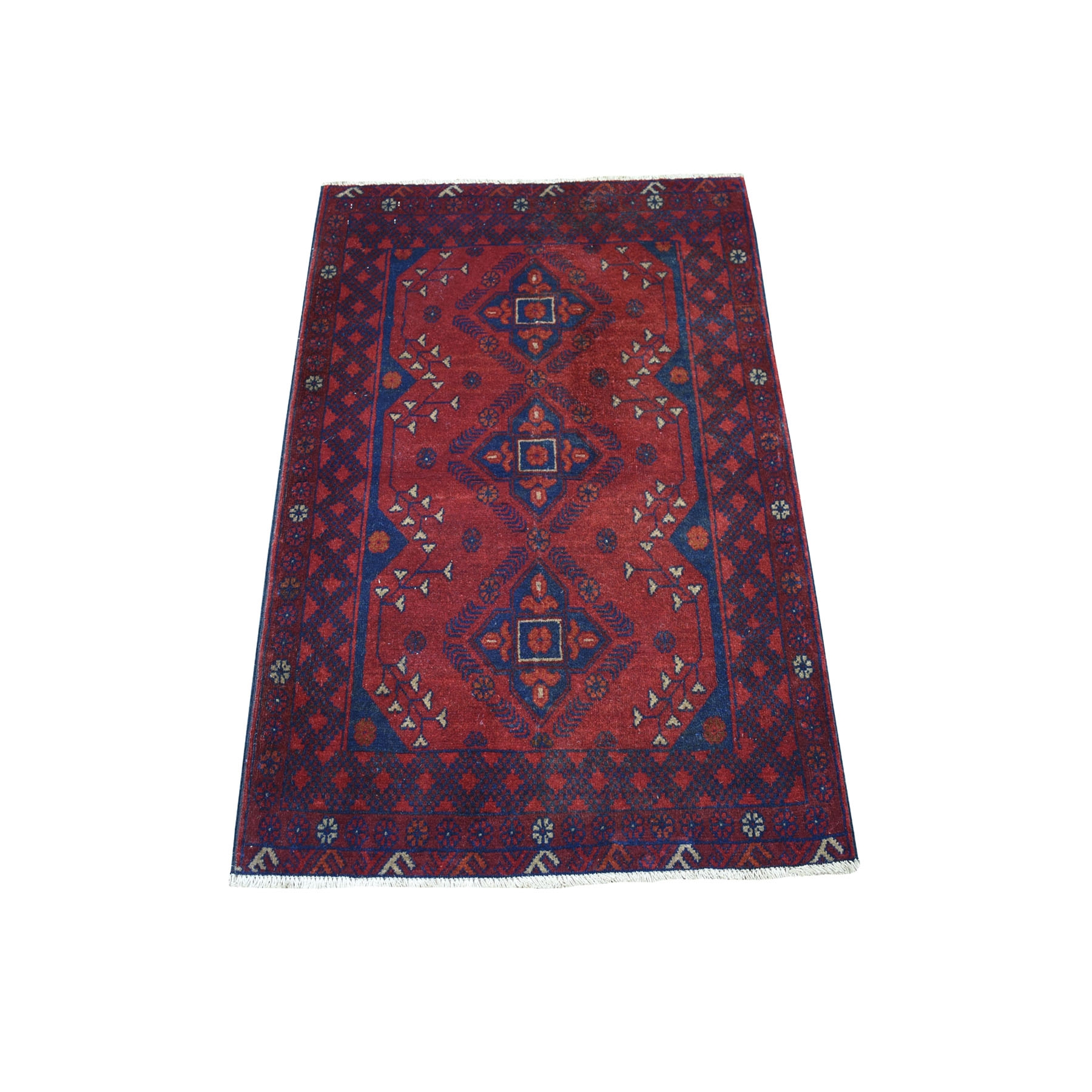 "2'7""X4' Deep And Saturated Red Geometric Afghan Andkhoy Pure Wool Hand Knotted Oriental Rug moaece69"