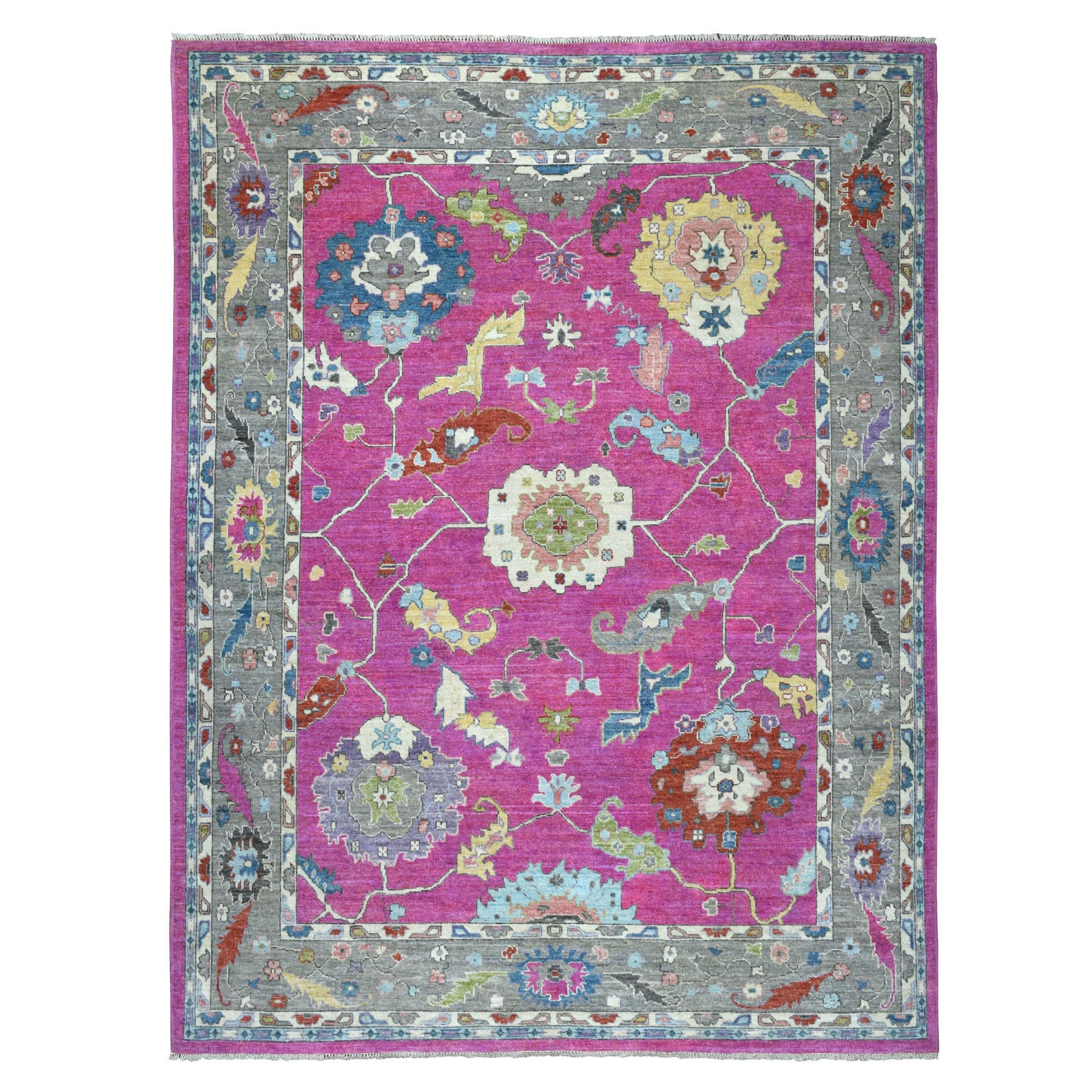 "9'x11'3"" Hot Pink Angora Oushak Super Bright Soft Wool Hand Knotted Oriental Rug"