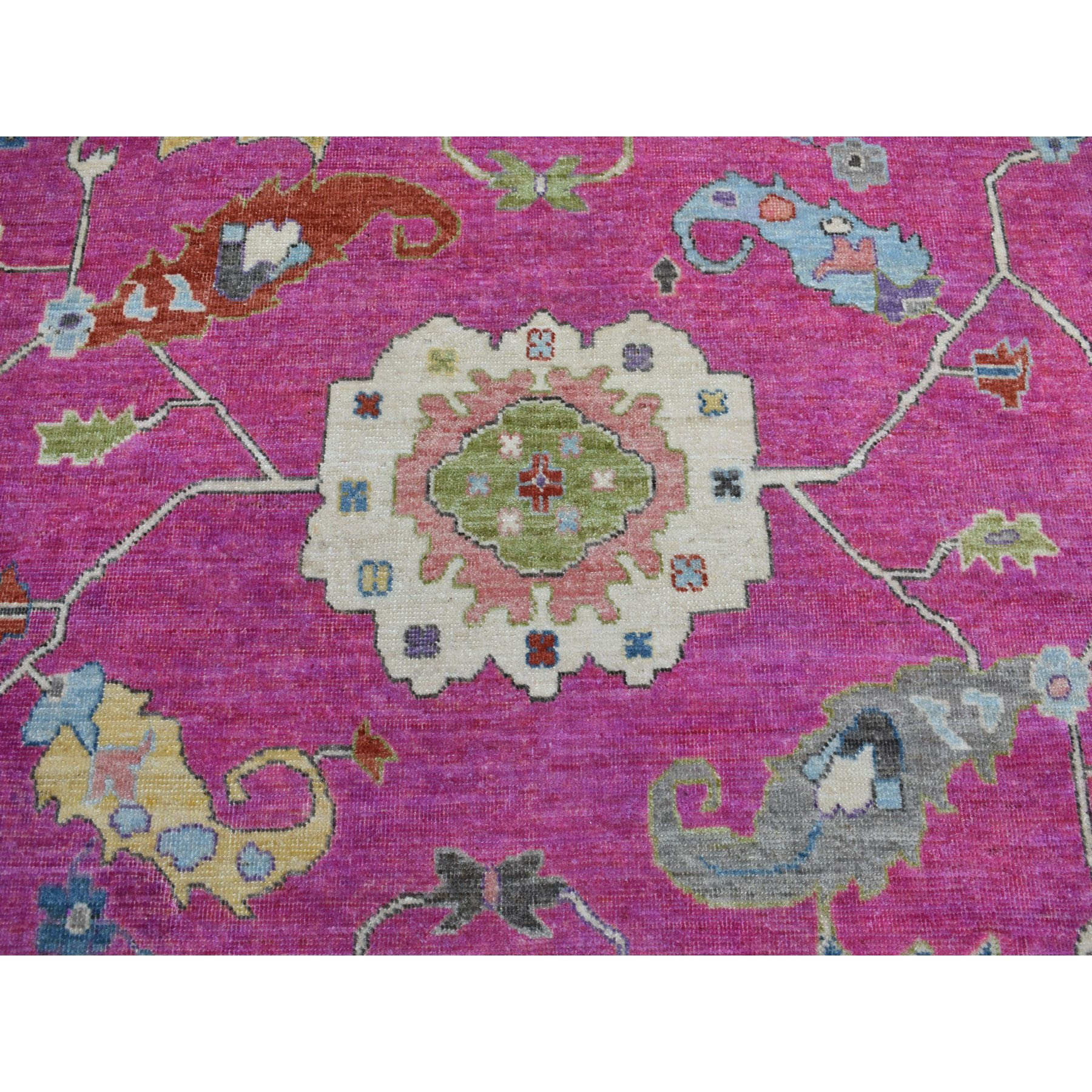 9-x11-3  Hot Pink Angora Oushak Super Bright Soft Wool Hand Knotted Oriental Rug