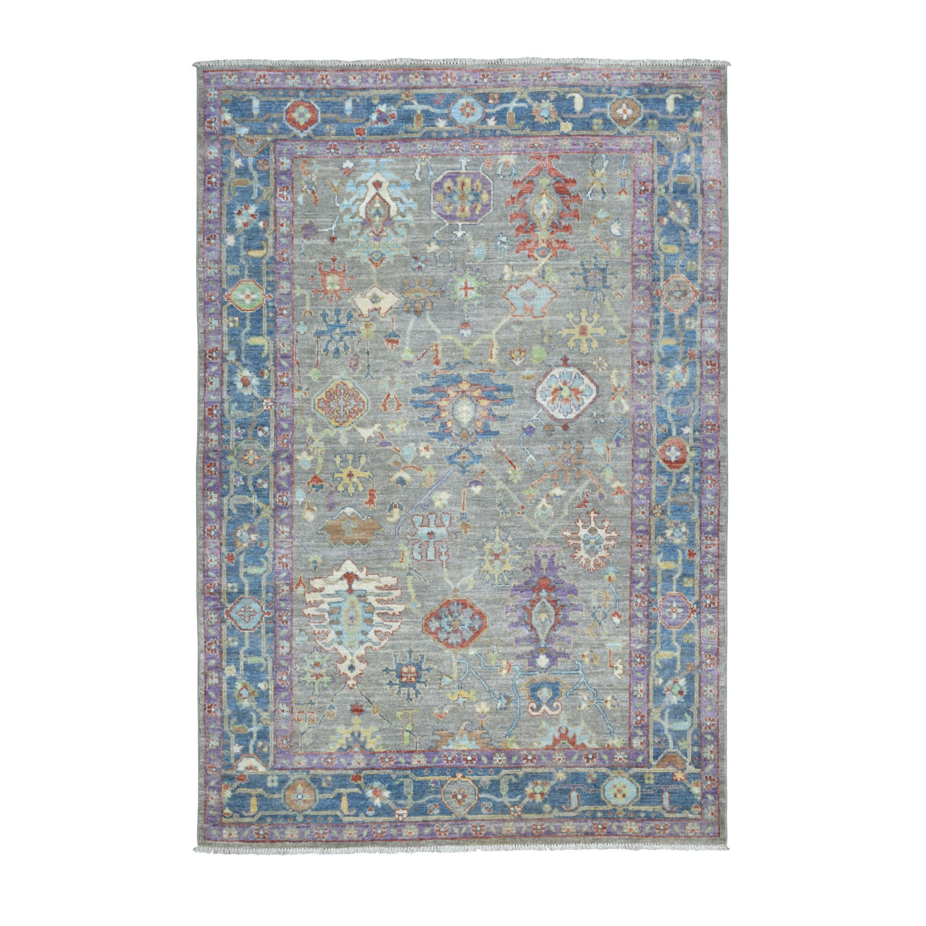 """6'X8'8"""" Gray Angora Oushak With Pop Of Color Soft Velvety Wool Hand Knotted Oriental Rug moaece7b"""
