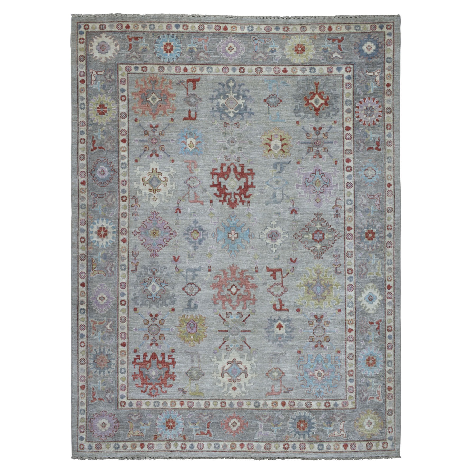 "9'1""x11'8"" Gray Angora Oushak With Pop Of Color Soft Velvety wool Hand Knotted Oriental Rug"