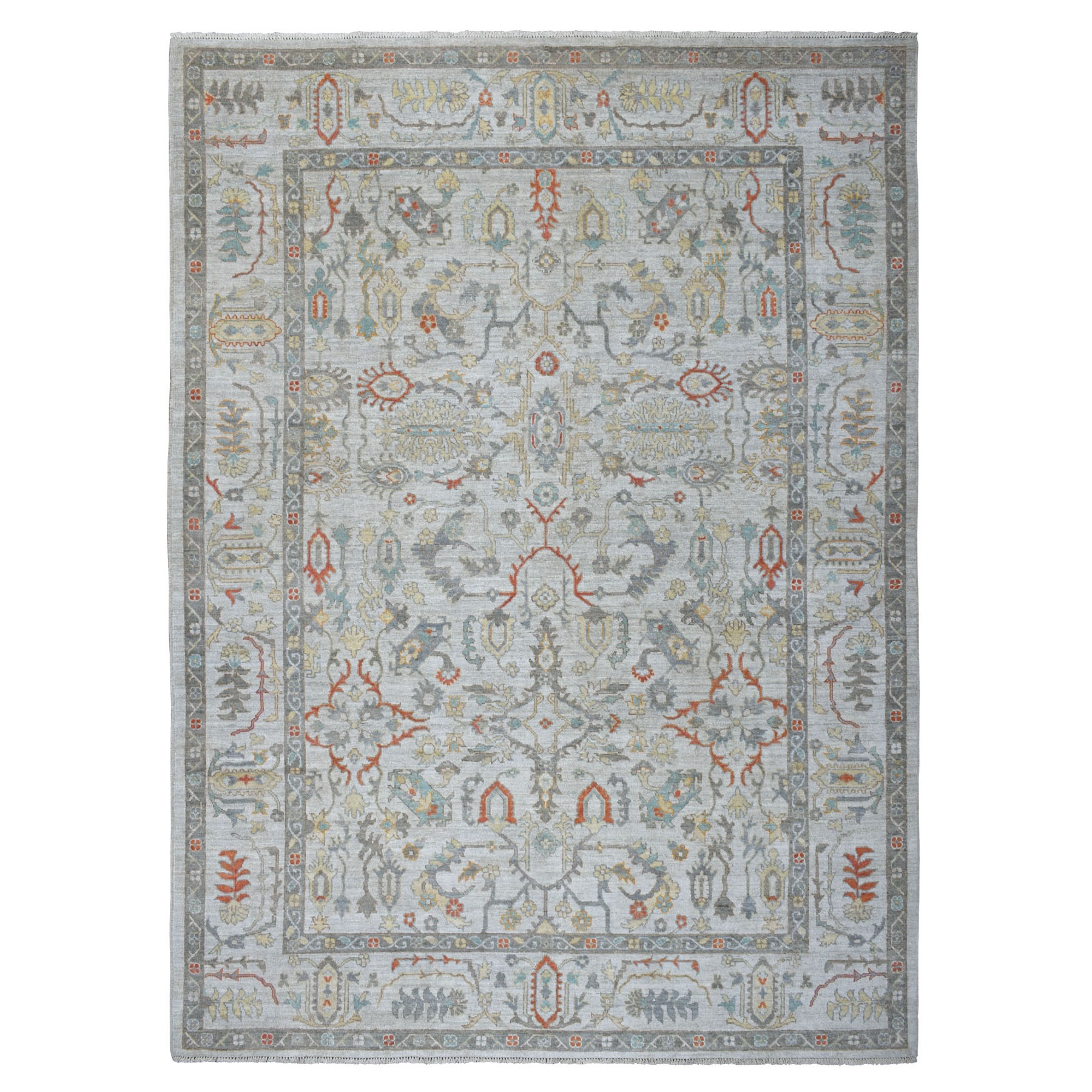 "9'3""x12'6"" Gray Angora Oushak With Pop Of Color Soft Velvety wool Hand Knotted Oriental Rug"