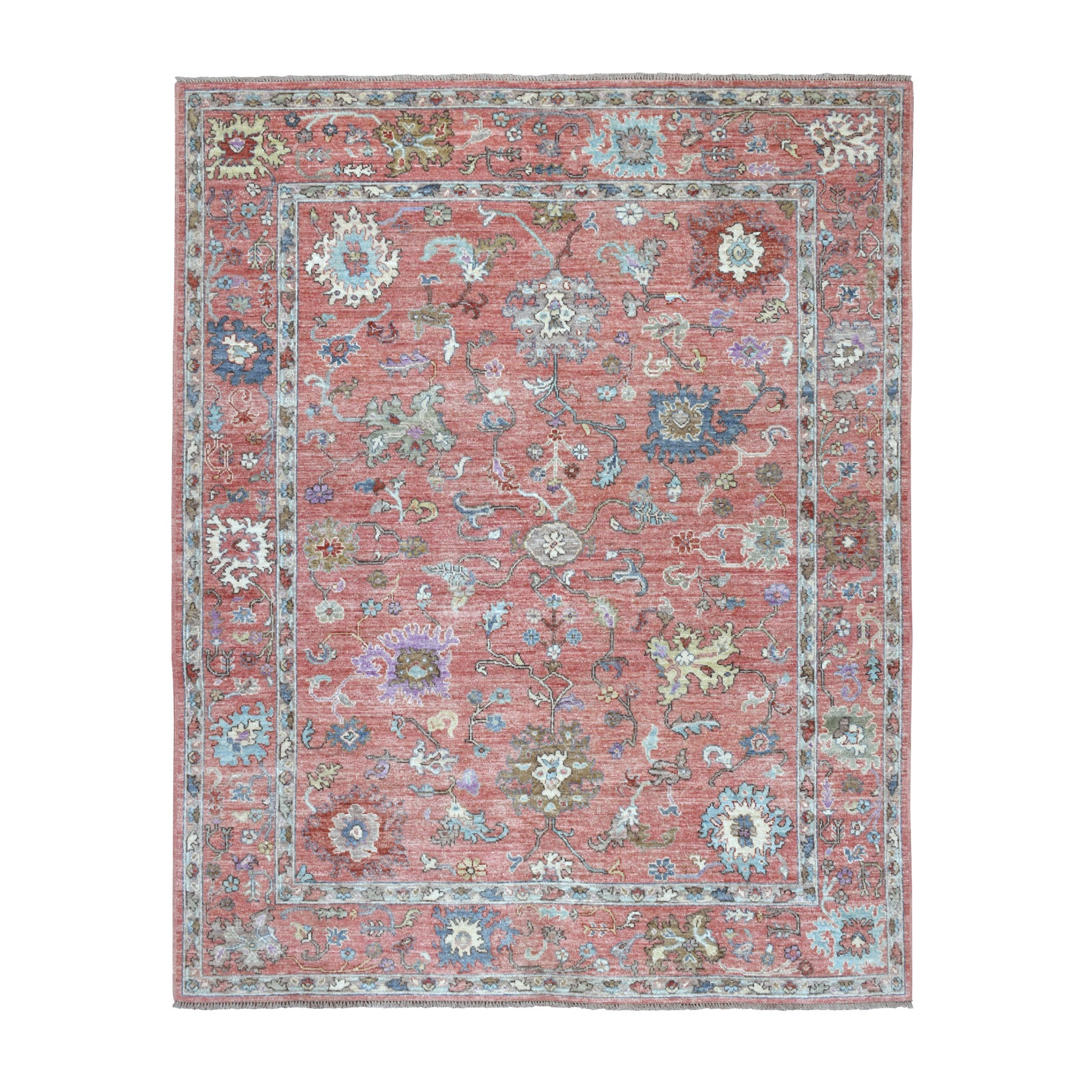 "7'10""x9'8"" Coral Angora Oushak With Pop Of Rust Color Soft Velvety wool Hand Knotted Oriental Rug"
