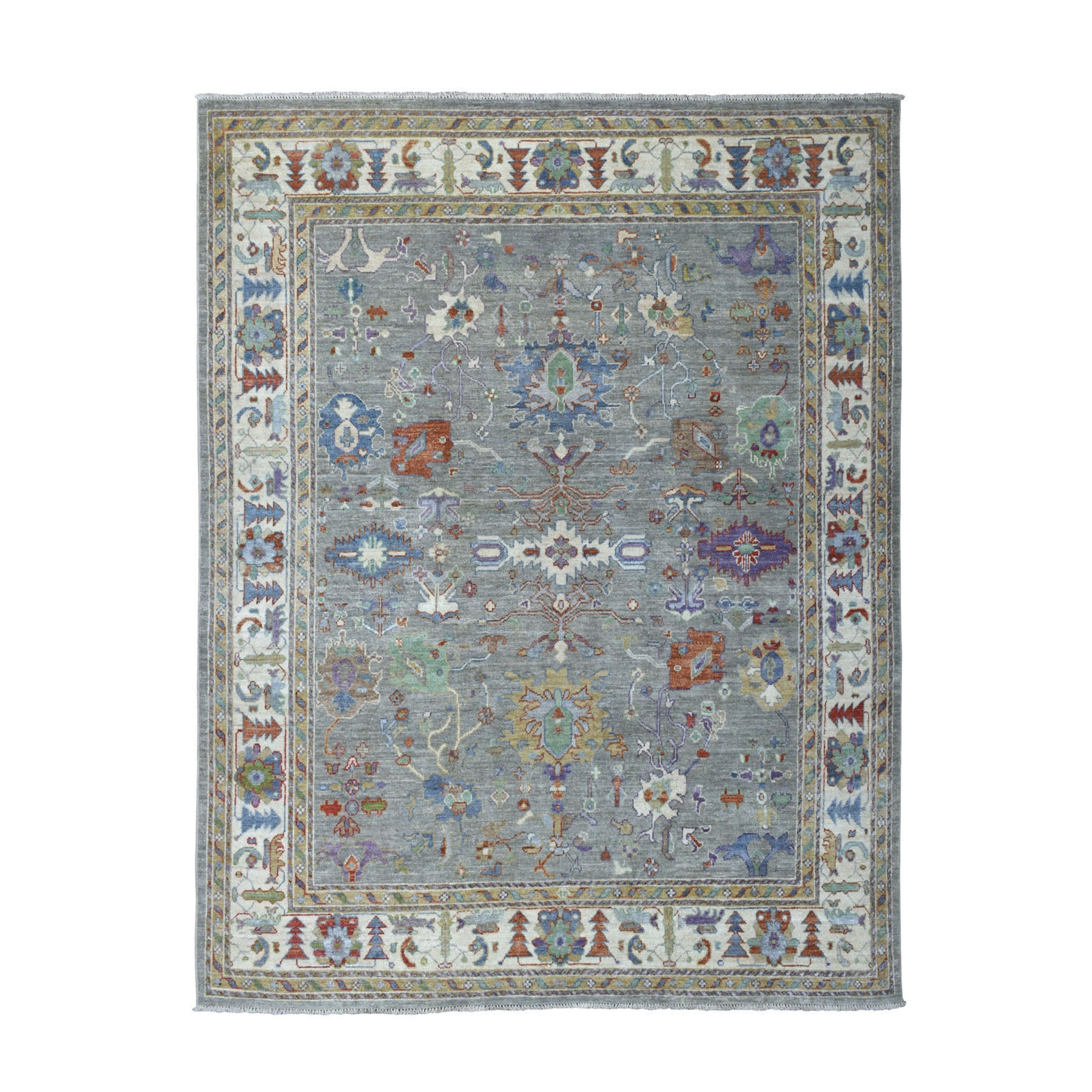 "7'8""x10' Gray Angora Oushak With Soft Velvety wool Hand Knotted Oriental Rug"