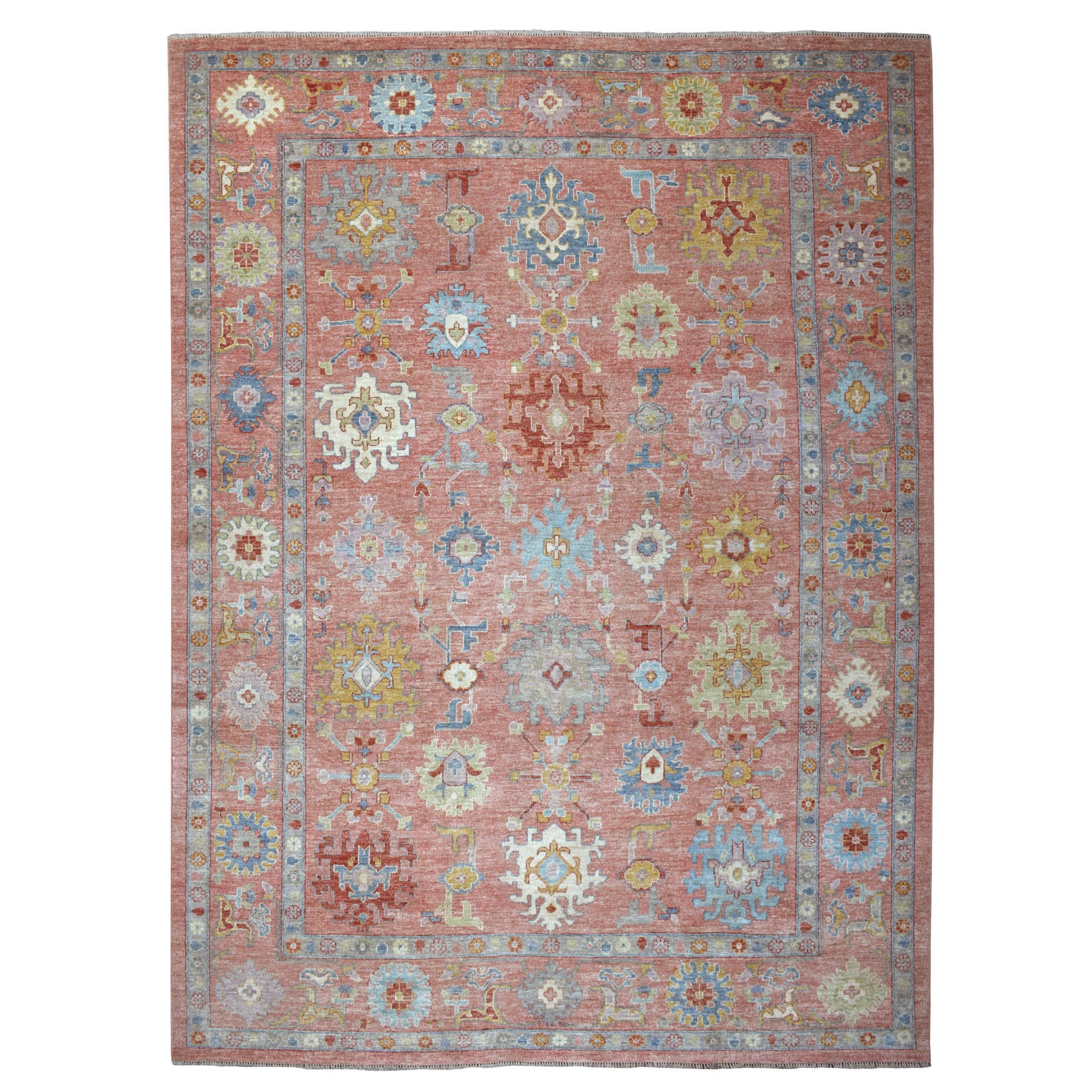 "10'X13'7"" Coral Angora Oushak With Soft Velvety Wool Hand Knotted Oriental Rug moaece8c"