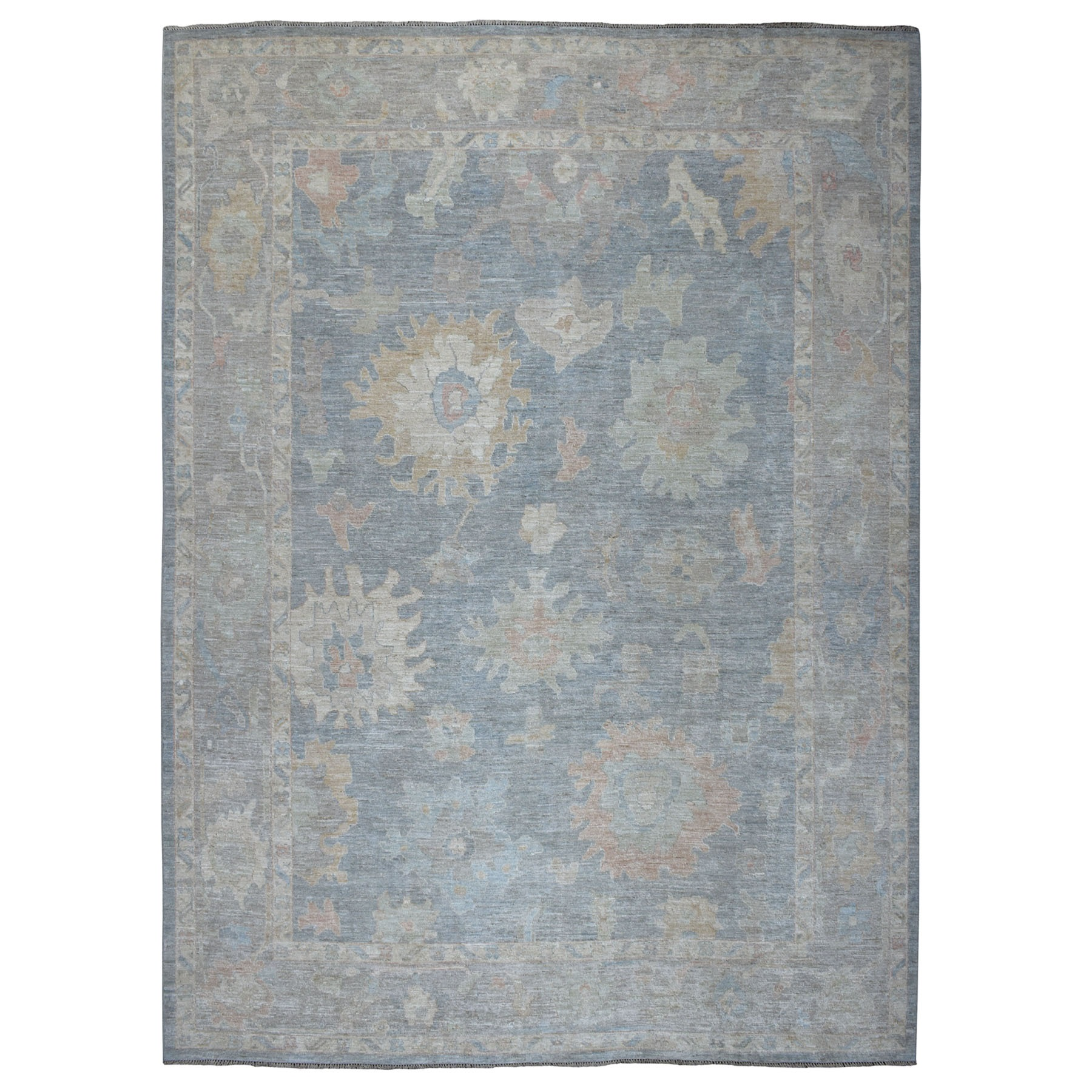 "10'x13'2"" Gray Angora Oushak With Soft Velvety wool Hand Knotted Oriental Rug"