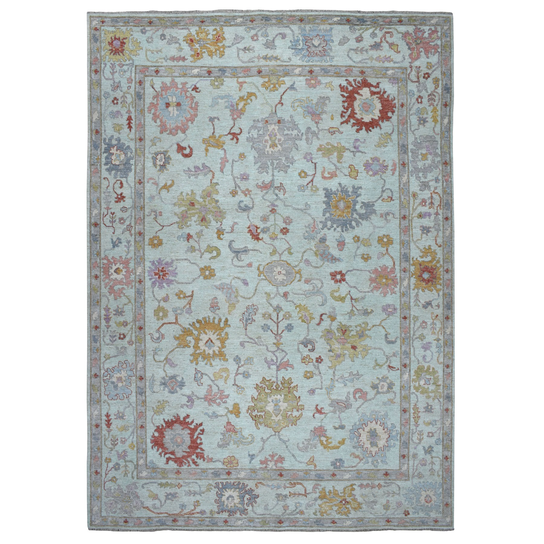 "9'9""x13'9"" Light Green Angora Oushak With Soft Velvety wool Hand Knotted Oriental Rug"