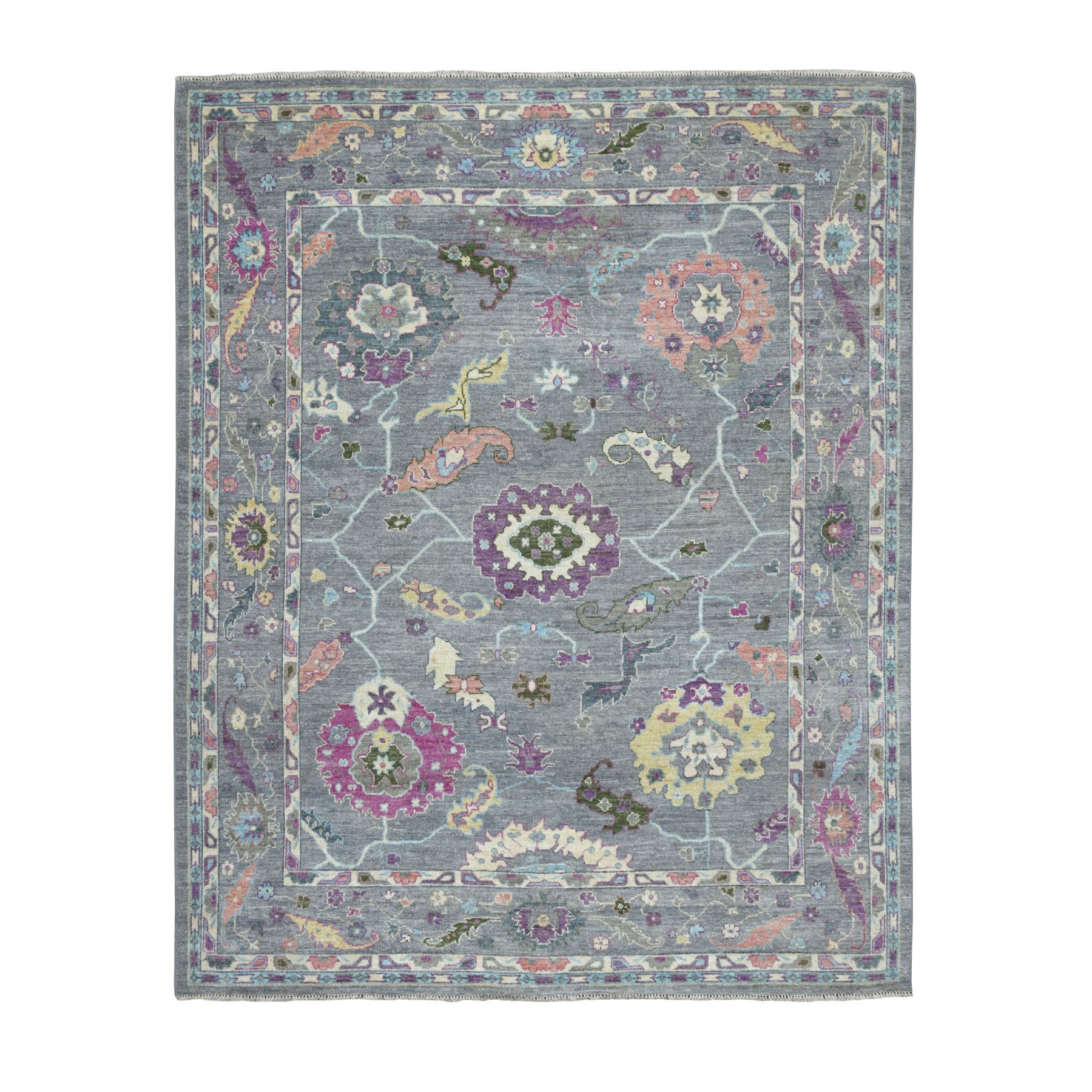 "7'10""X9'7"" Gray Angora Oushak With Soft Velvety Wool Hand Knotted Oriental Rug moaece87"
