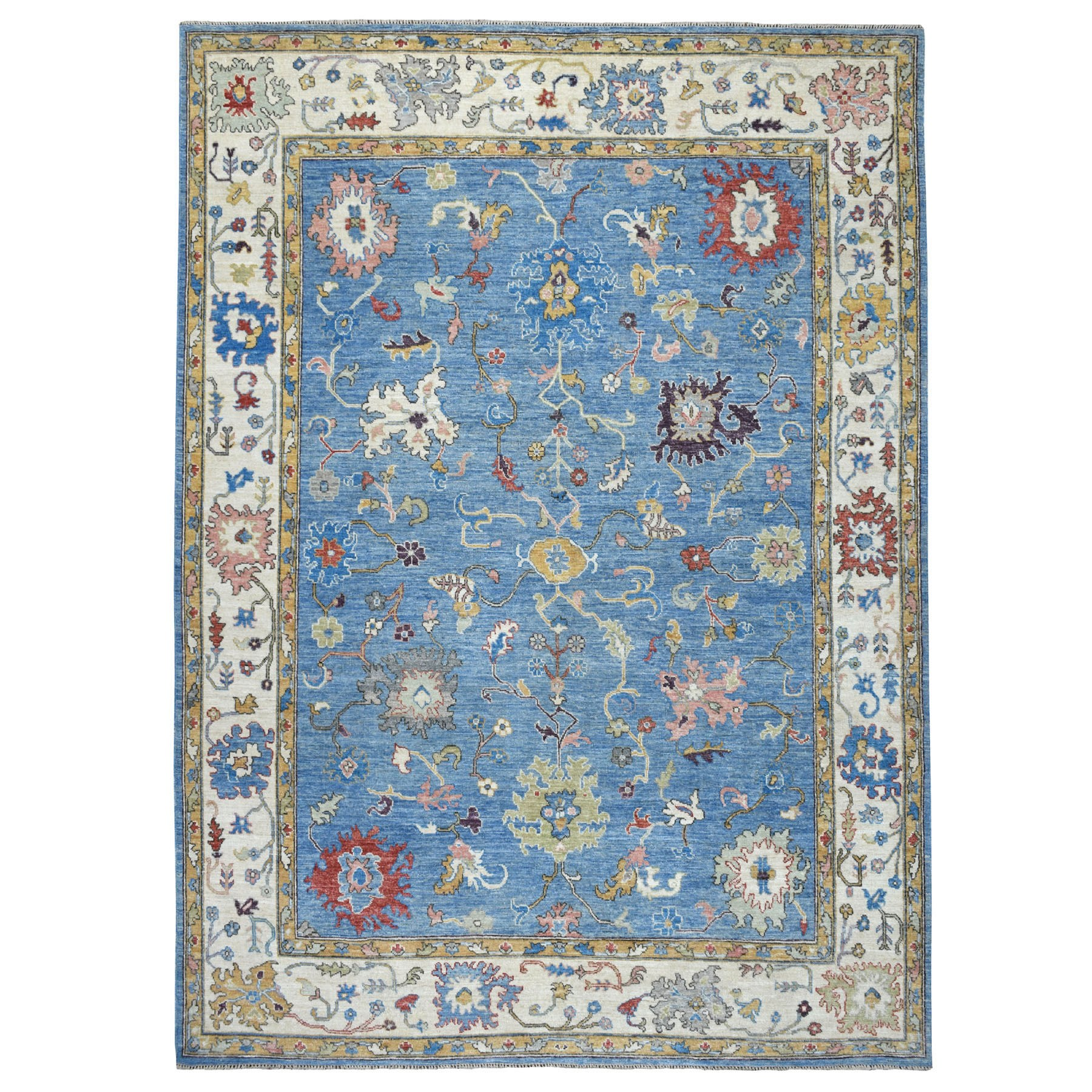 "8'7""x11'10"" Denim Blue Angora Oushak With Soft Velvety wool Hand Knotted Oriental Rug"