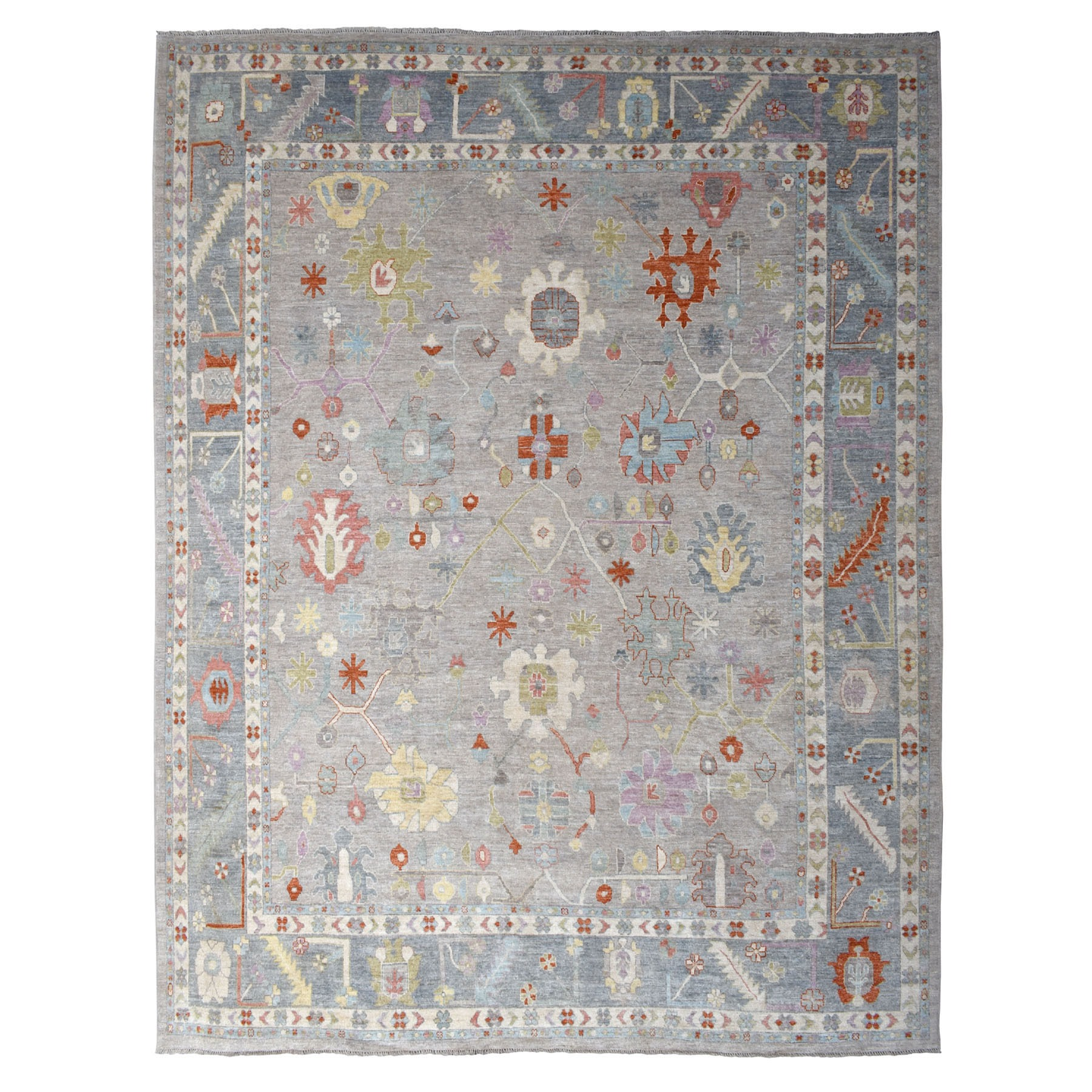 "12'2""x14'5"" Oversized Gray Angora Oushak With Soft Velvety wool Hand Knotted Oriental Rug"