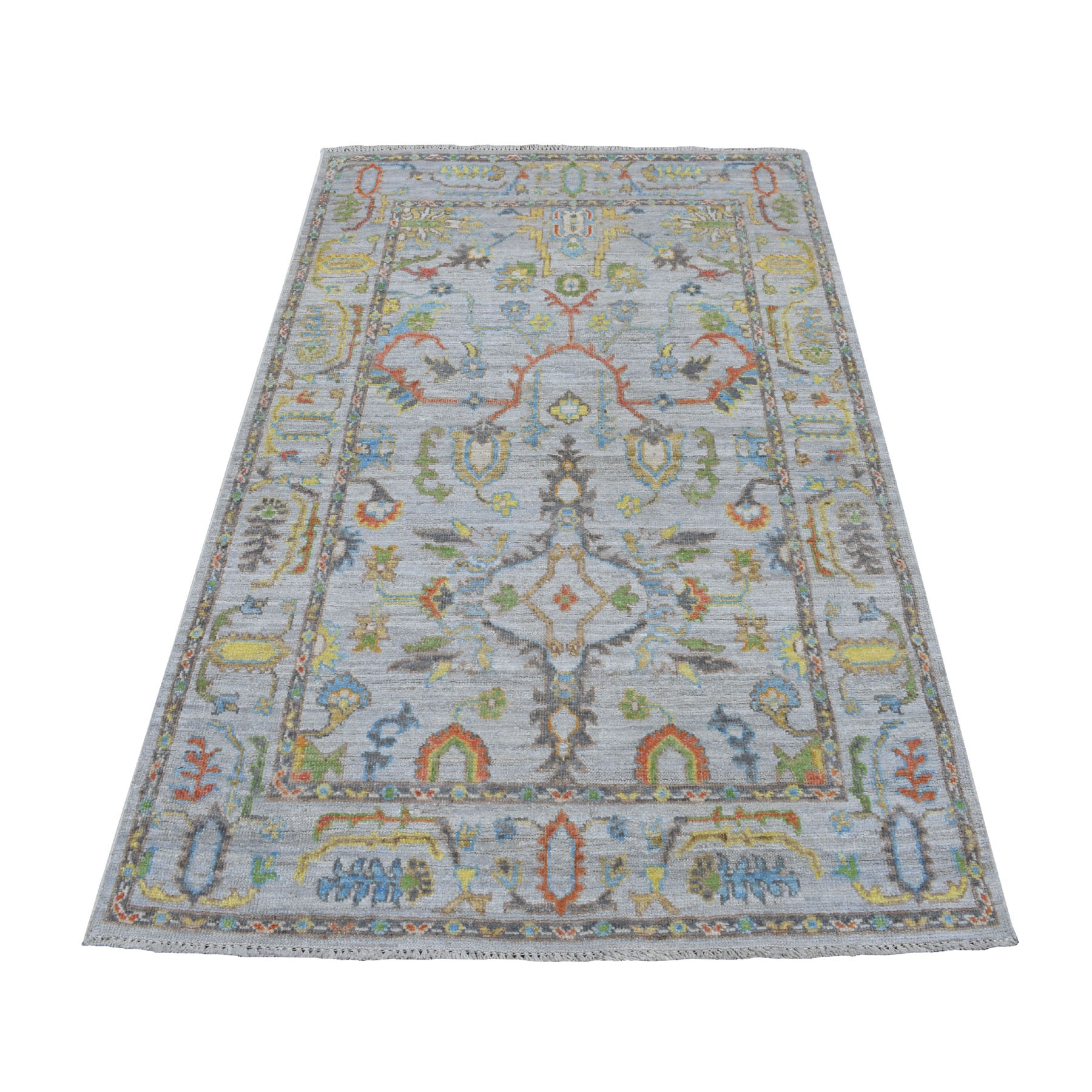 4'x6' Gray Angora Oushak With Soft Velvety wool Hand Knotted Oriental Rug