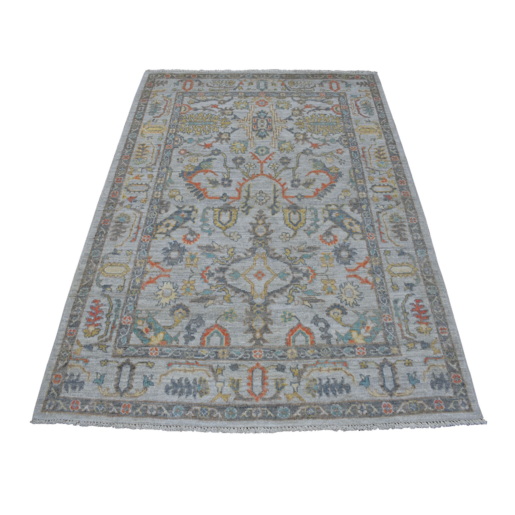 "5'1""X6'8"" Gray Angora Oushak With Soft Velvety Wool Hand Knotted Oriental Rug moaece9c"