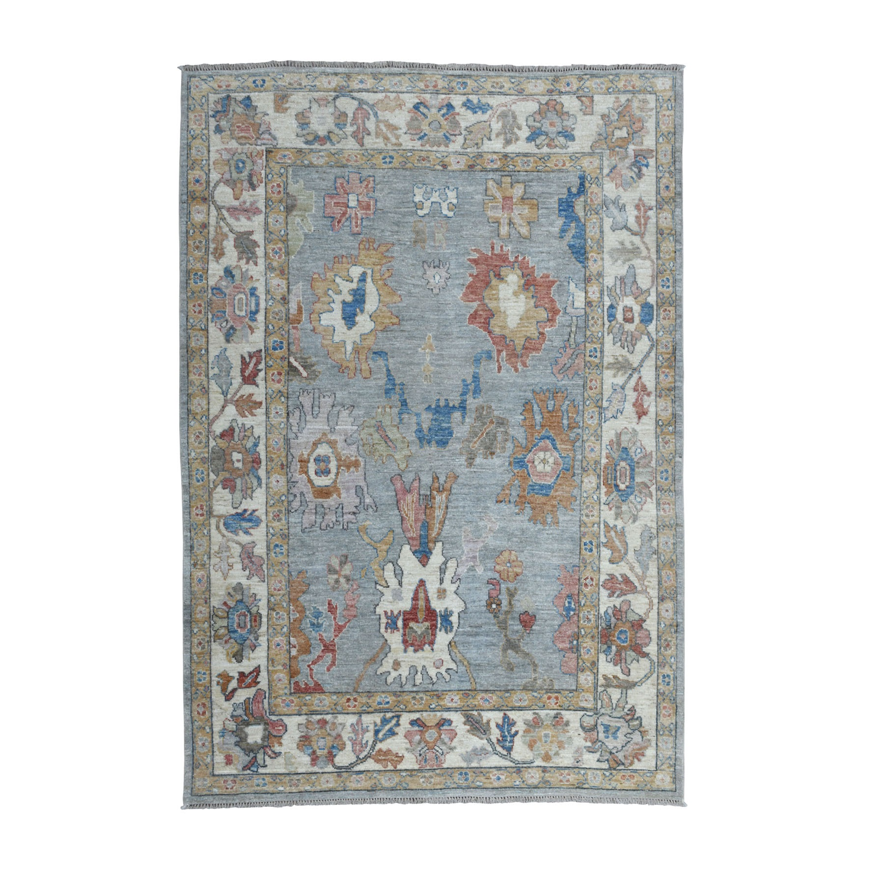 "6'X8'7"" Gray Angora Oushak With Soft Velvety Wool Hand Knotted Oriental Rug moaece9d"