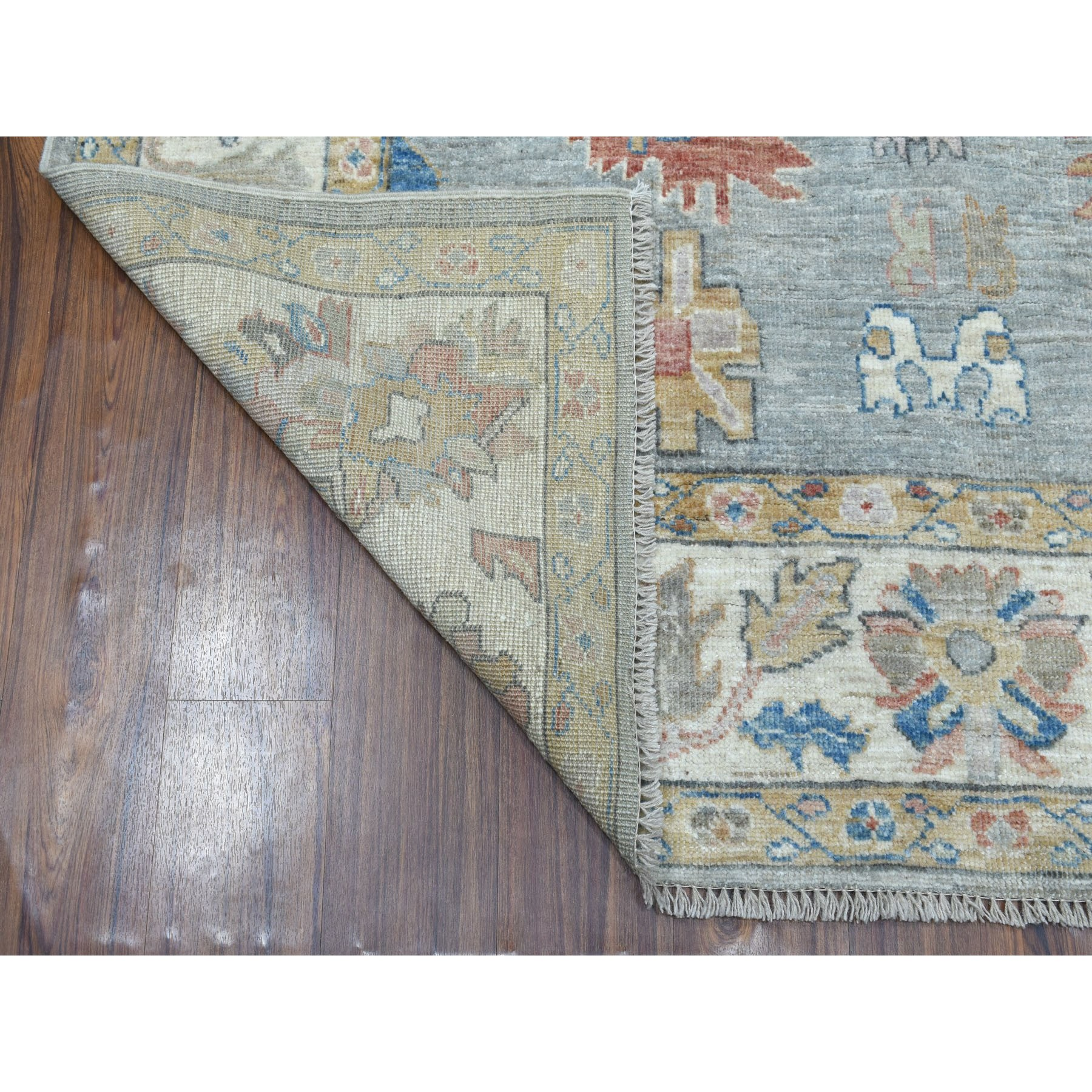 6-x8-7  Gray Angora Oushak With Soft Velvety Wool Hand Knotted Oriental Rug