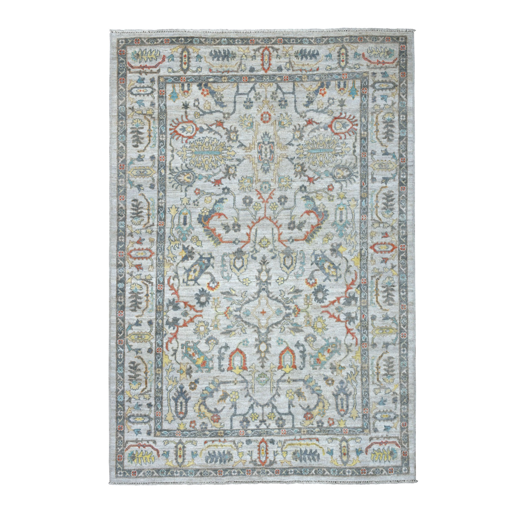 "6'X8'9"" Gray Angora Oushak With Pop Of Color Soft Velvety Wool Hand Knotted Oriental Rug moaece97"