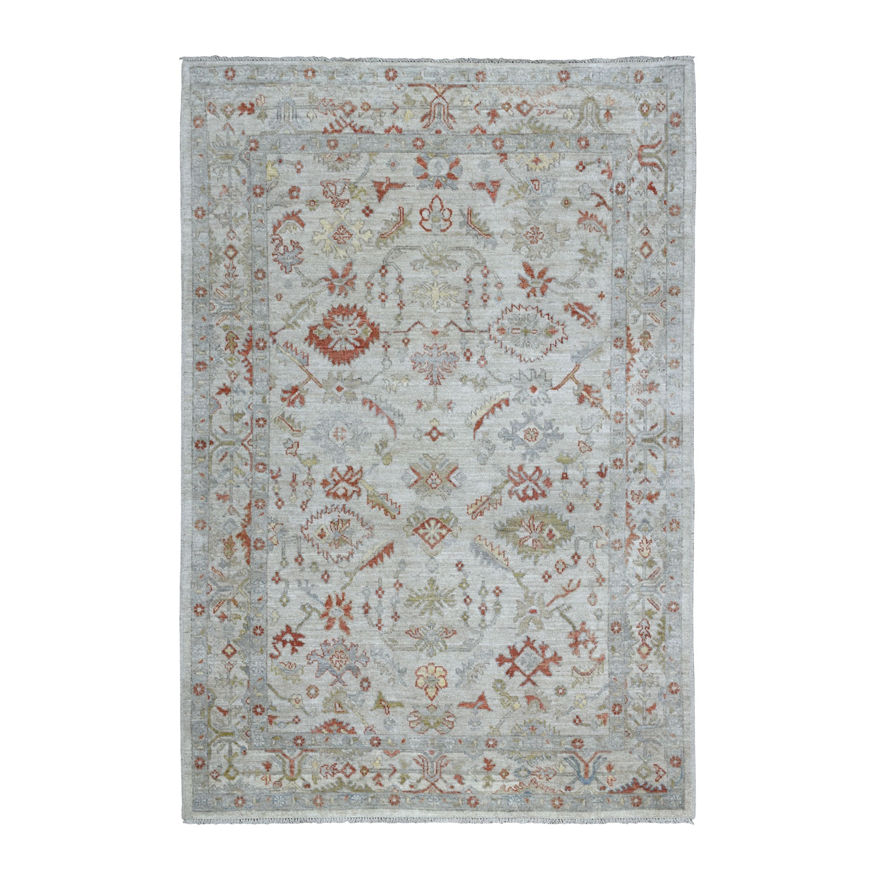 "6'X8'8"" Gray Angora Oushak With Pop Of Color Soft Velvety Wool Hand Knotted Oriental Rug moaece99"