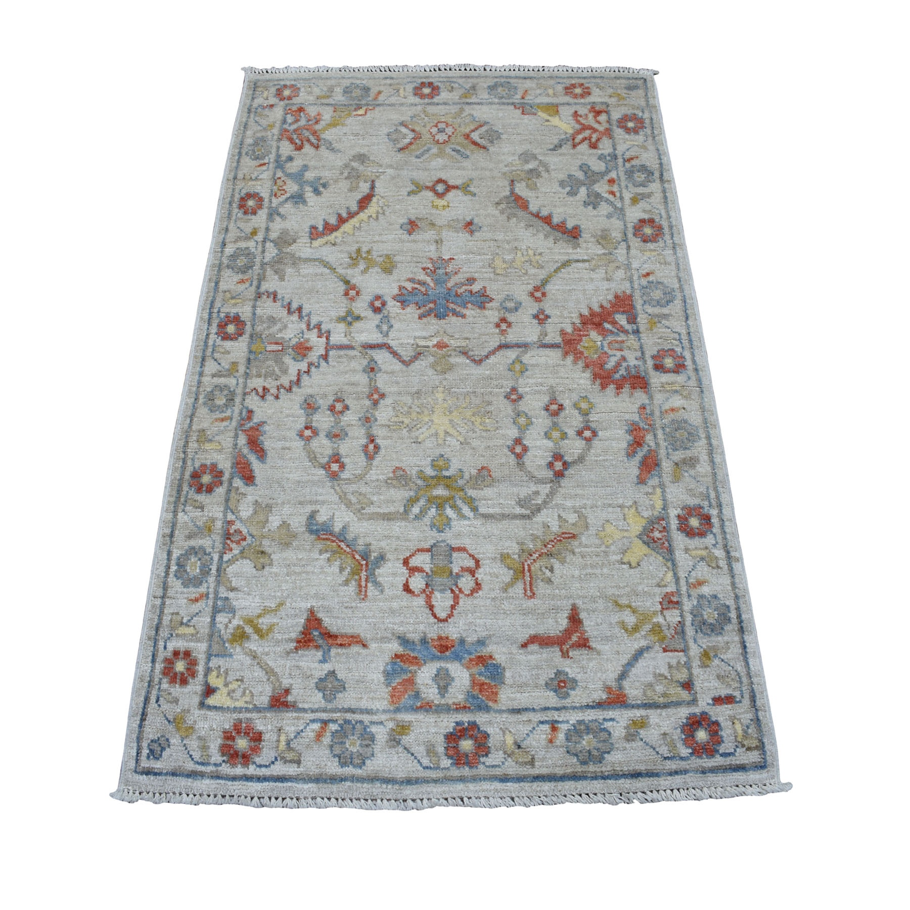 "3'X4'10"" Gray Angora Oushak With Soft Velvety Wool Hand Knotted Oriental Rug moaec60a"