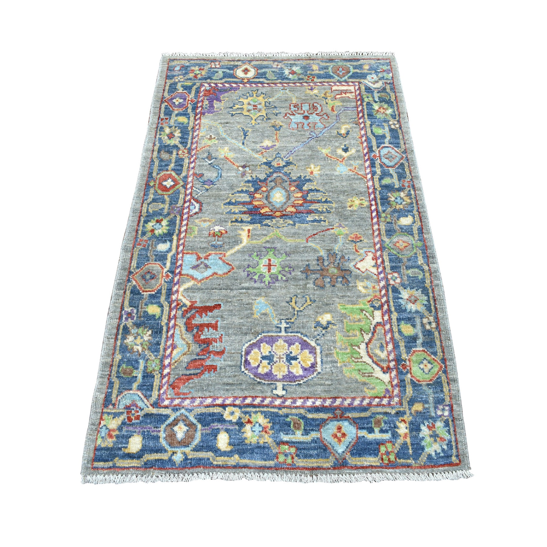 3'X5' Gray Angora Oushak With Soft Velvety Wool Hand Knotted Oriental Rug moaec60b