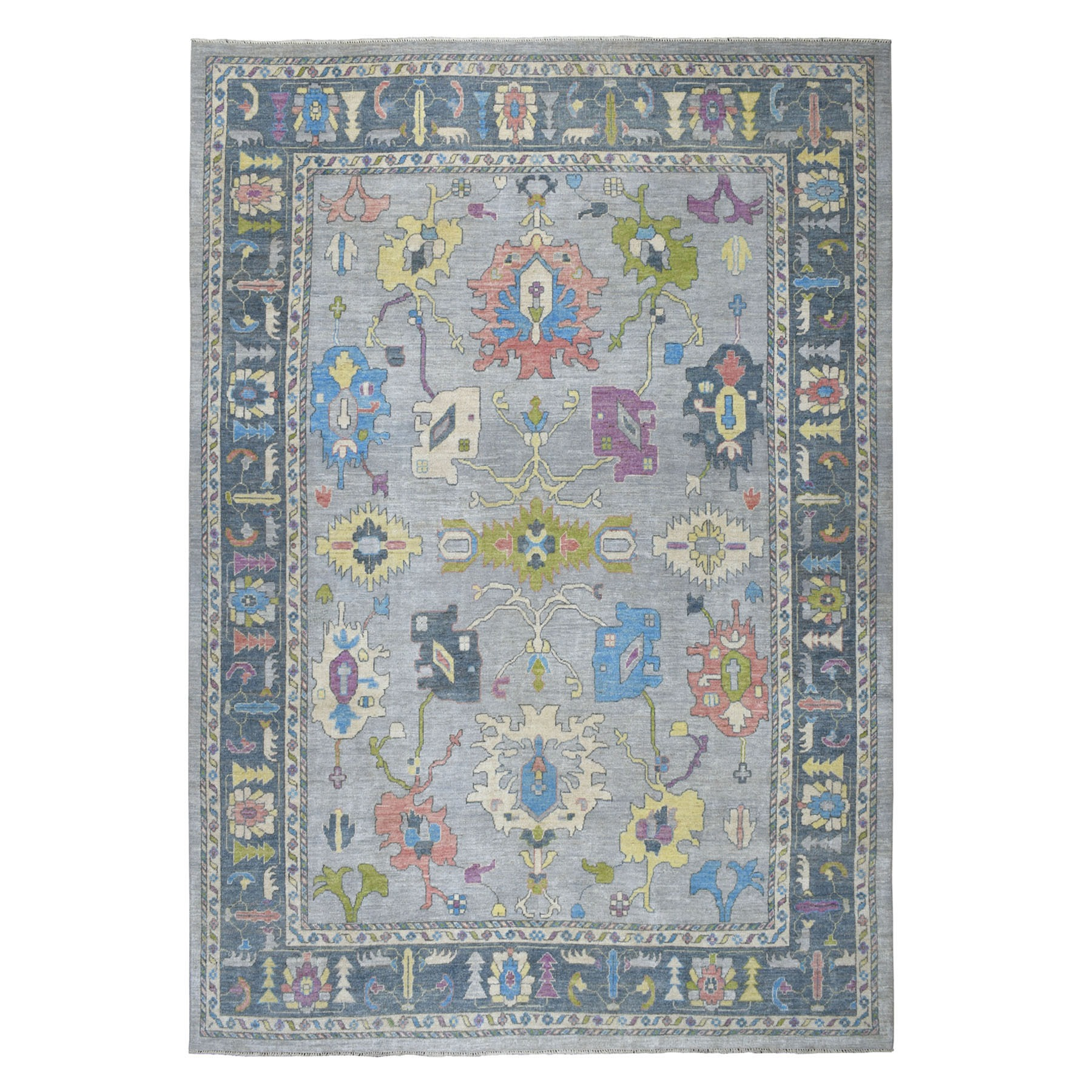 "10'X13'5"" Gray Angora Oushak With Soft Velvety Wool Hand Knotted Oriental Rug moaec607"