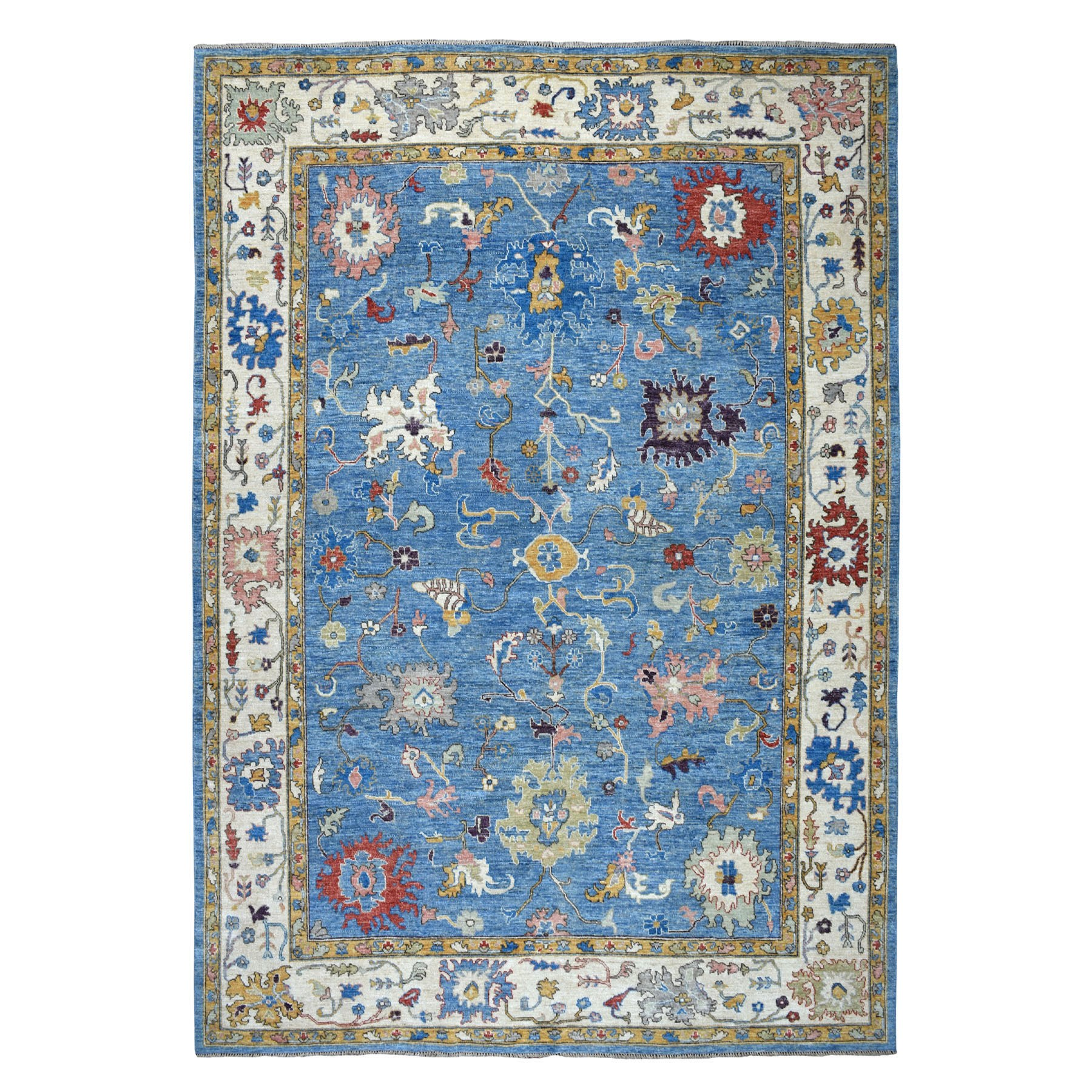 "10'X13'3"" Denim Blue Angora Oushak With Soft Velvety Wool Hand Knotted Oriental Rug moaec609"