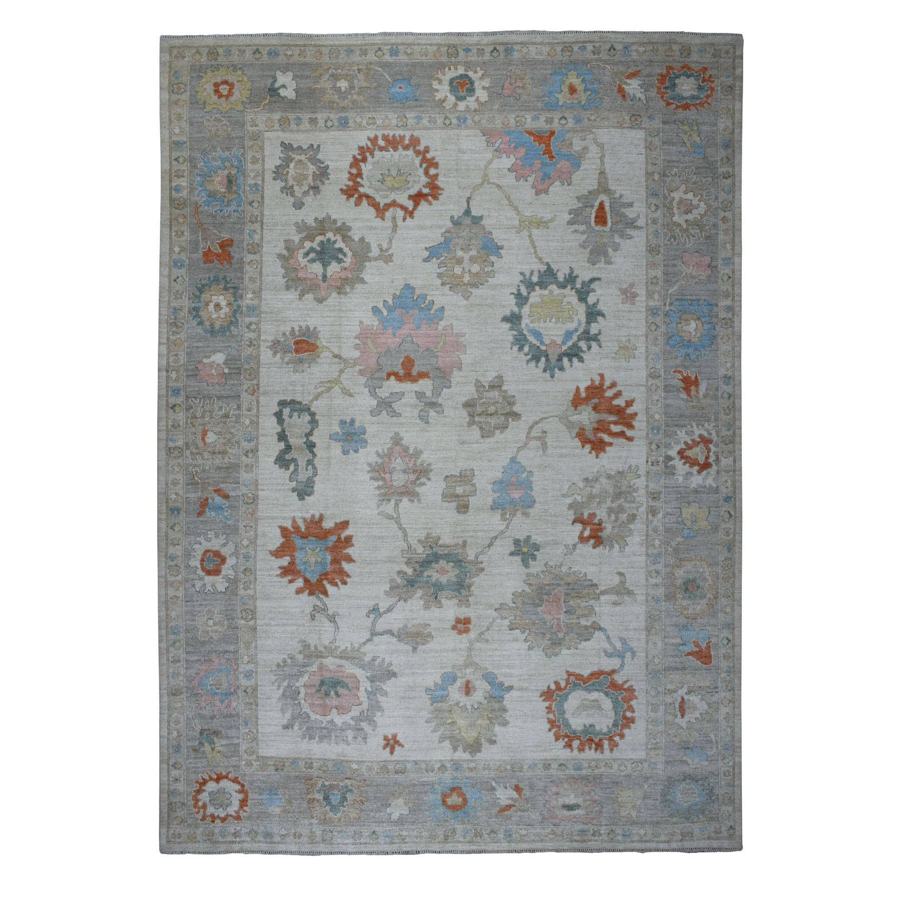"10'X13'6"" Gray Angora Oushak With Soft Velvety Wool Hand Knotted Oriental Rug moaec6a0"