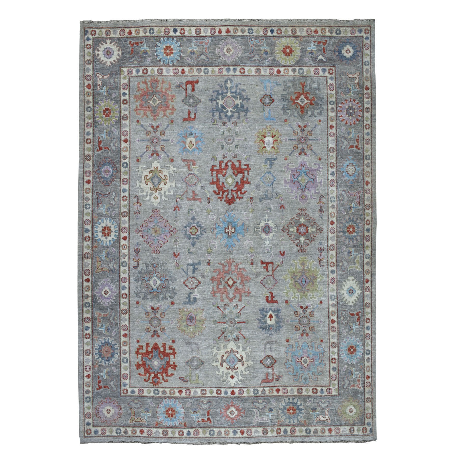 "9'2""X11'9"" Gray Angora Oushak With Soft Velvety Wool Hand Knotted Oriental Rug moaec6aa"
