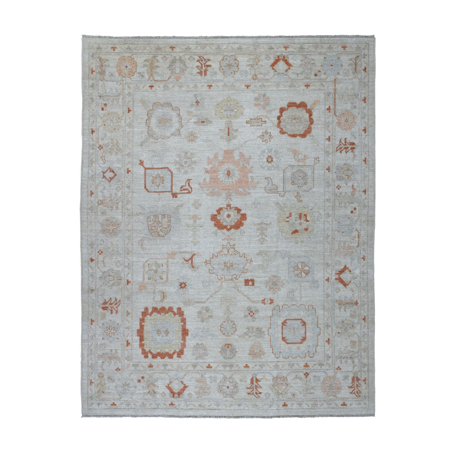 """8'x9'7"""" Ivory Angora Oushak With Soft Velvety wool Hand Knotted Oriental Rug"""