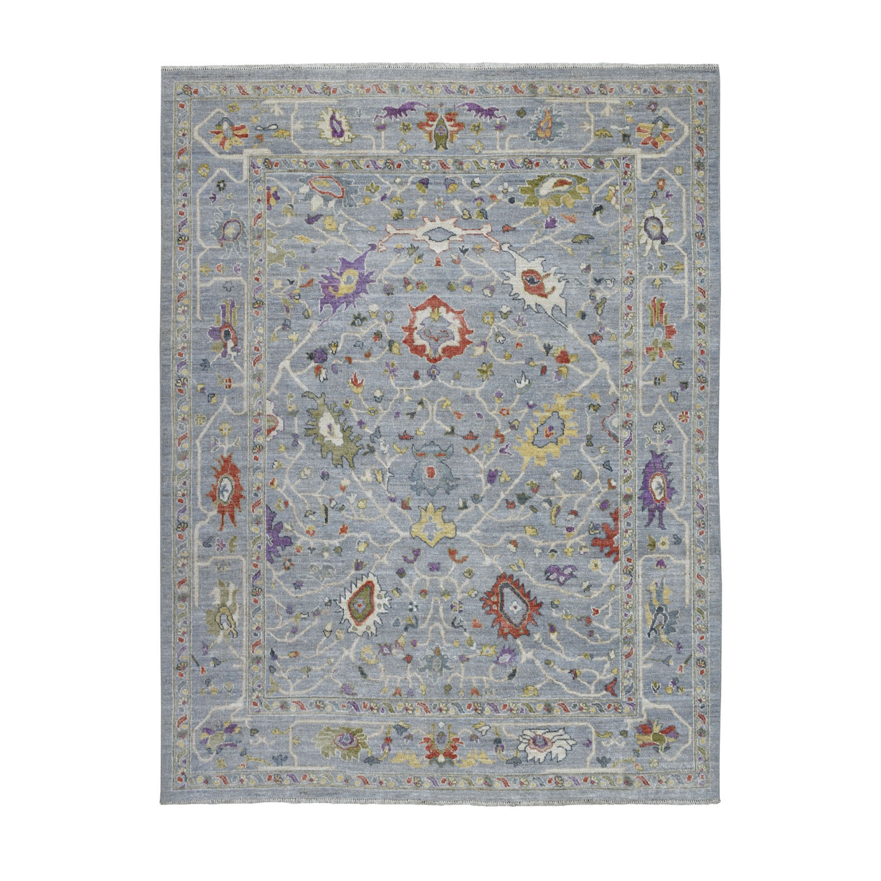 """8'1""""x10' Gray Angora Oushak With Soft Velvety wool Hand Knotted Oriental Rug"""