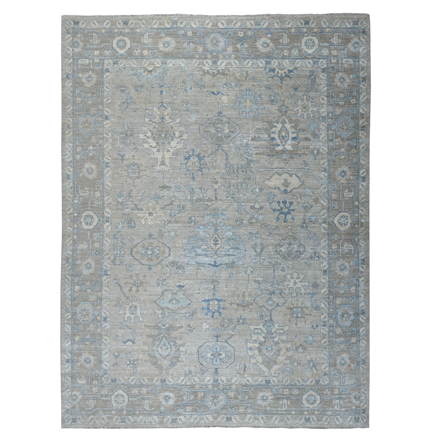 "9'X11'10"" Gray Angora Oushak With Soft Velvety Wool Hand Knotted Oriental Rug moaec6a8"