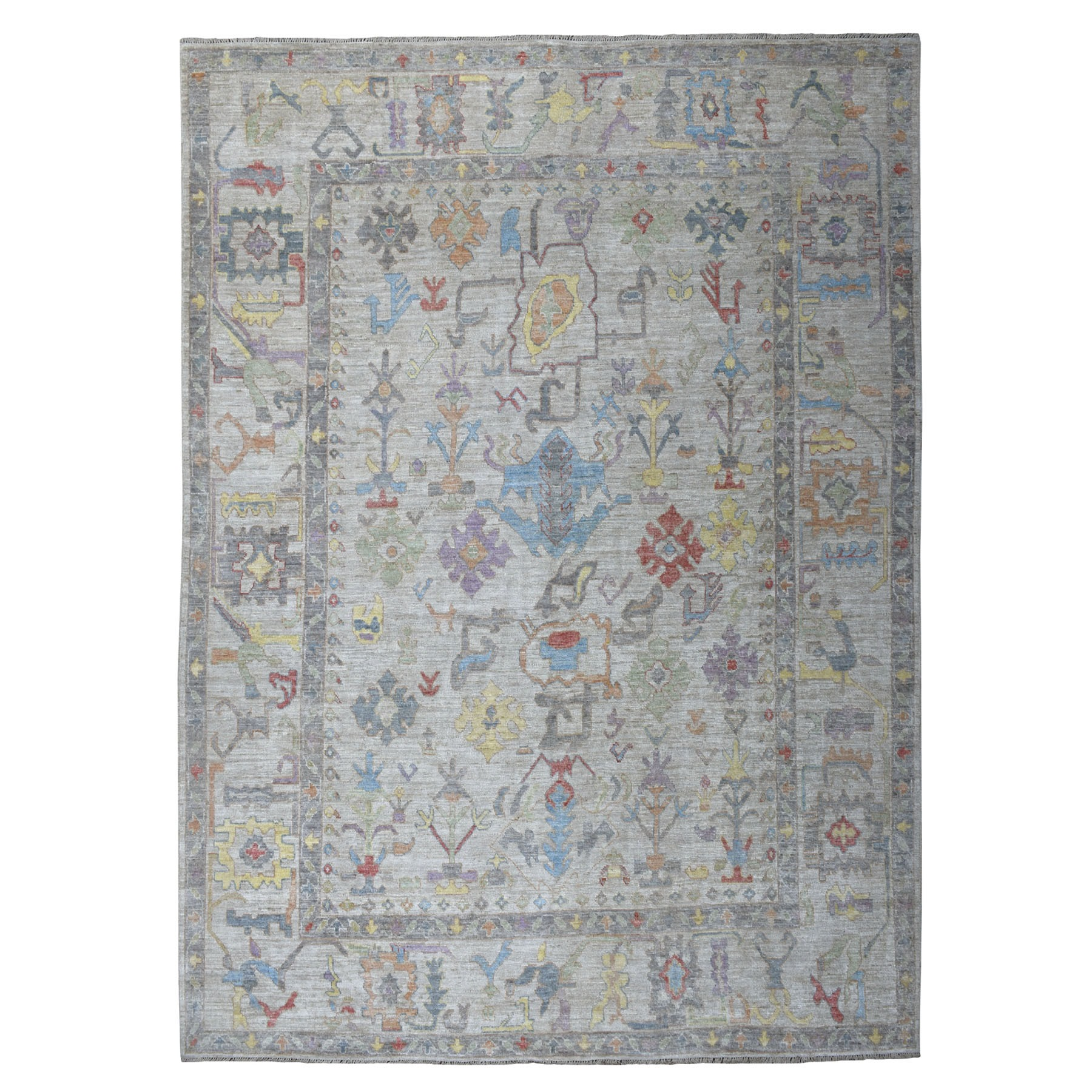 "9'X12'2"" Gray Angora Oushak With Soft Velvety Wool Hand Knotted Oriental Rug moaec6b0"