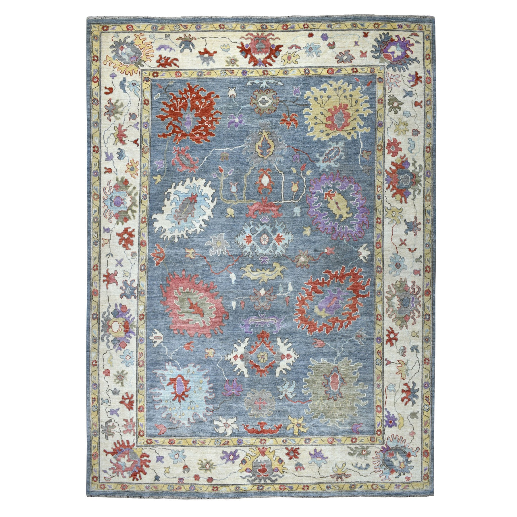 "9'9""X13'6"" Gray Angora Oushak With Soft Velvety Wool Hand Knotted Oriental Rug moaec6bd"