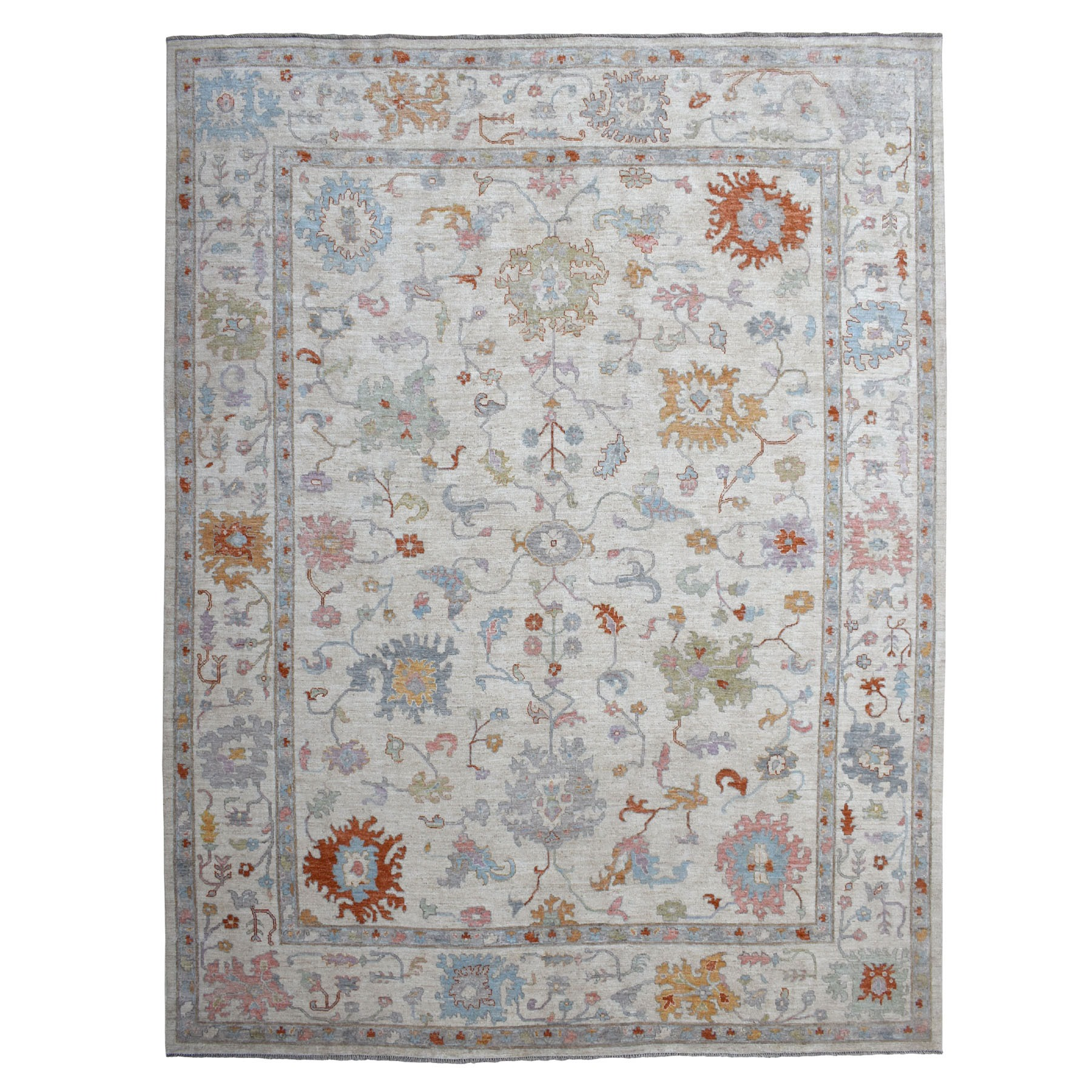 "11'10""X14'5"" Oversized Gray Angora Oushak With Soft Velvety Wool Hand Knotted Oriental Rug moaec6b6"